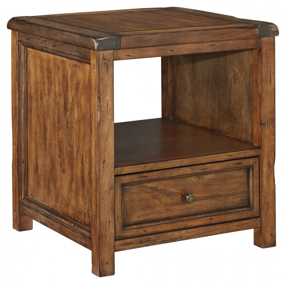 Tamonie - Medium Brown - Square End Table | T830-2 | End Tables in Chiseled Edge Coffee Tables (Image 26 of 30)