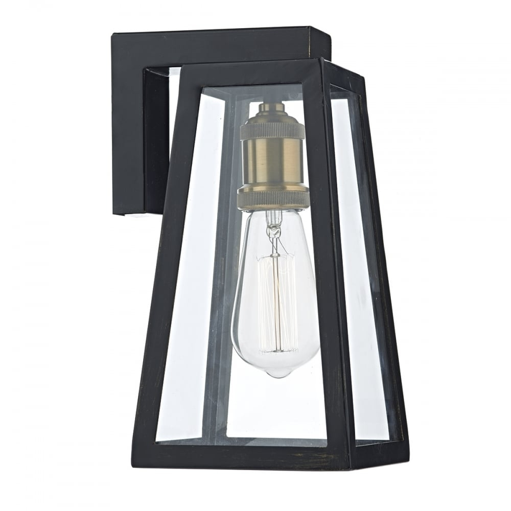 Tapered Matt Black Outdoor Wall Lantern With Clear Glass - Ip43 for Outdoor Vintage Lanterns (Image 15 of 20)