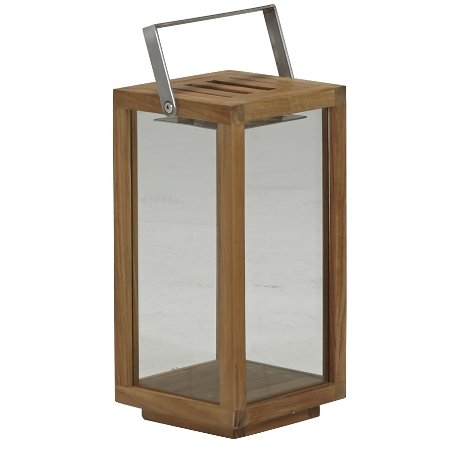 Teak Lantern Small – Janus Et Cie Pertaining To Outdoor Teak Lanterns (View 12 of 20)