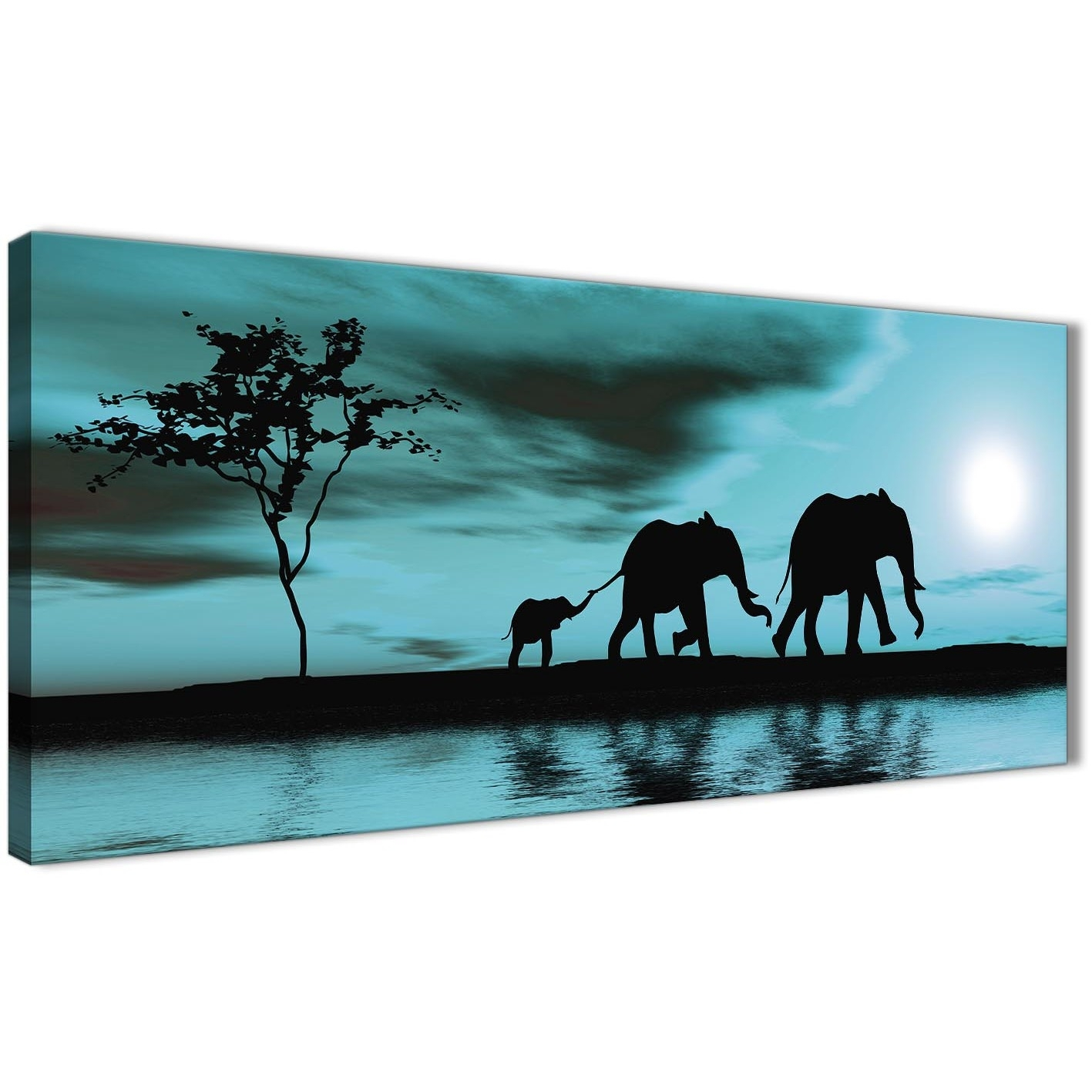 Teal African Sunset Elephants Canvas Wall Art Print - Modern 120Cm with Teal Wall Art (Image 14 of 20)