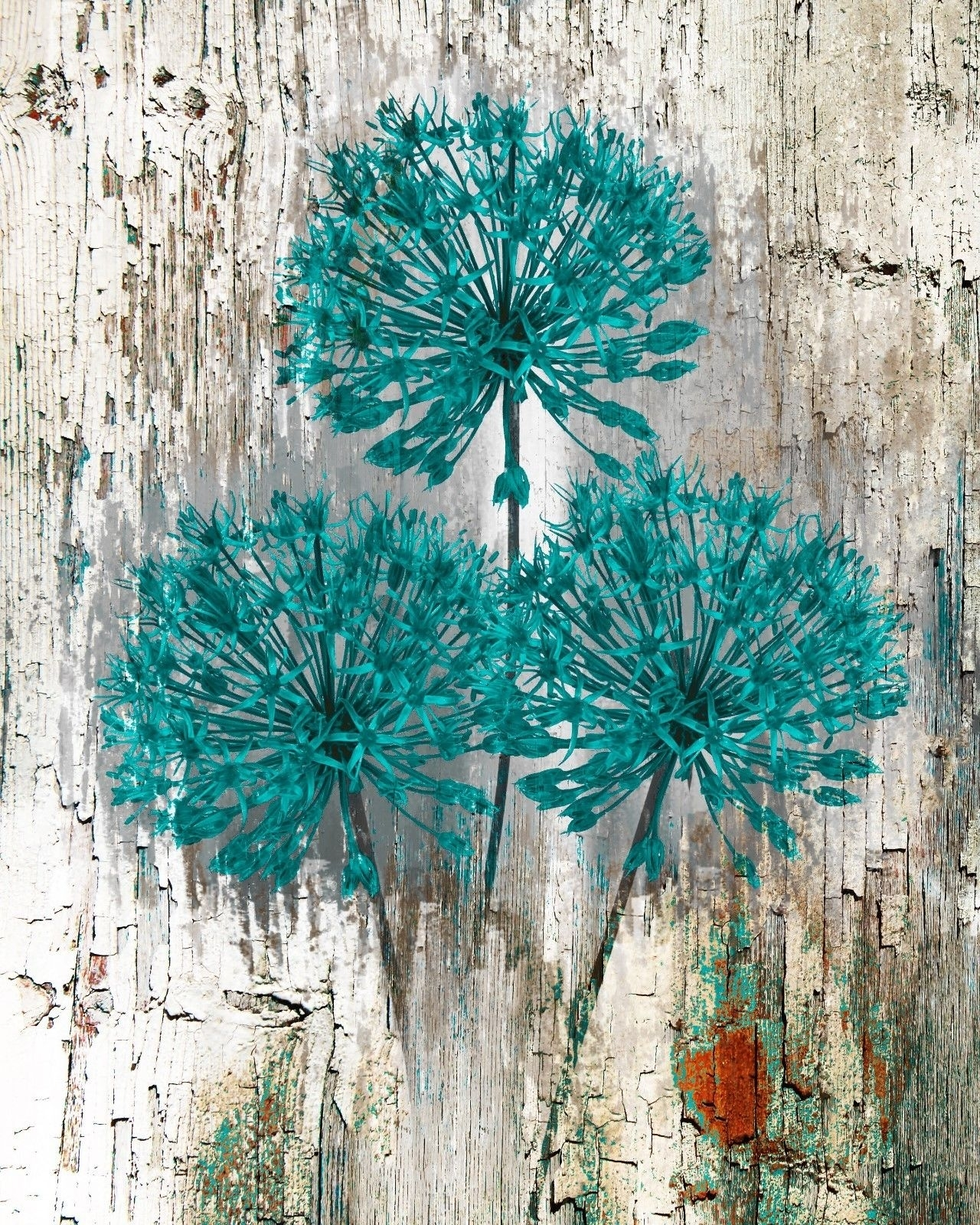 Teal Brown Rustic Distressed Flower Wall Art Home Decor Matted throughout Teal Wall Art (Image 15 of 20)