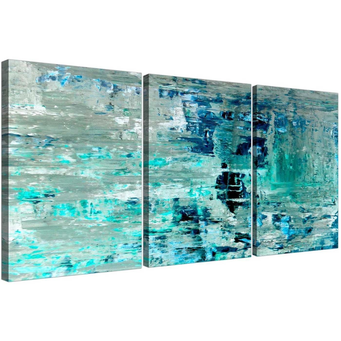 Teal Paintings On Canvas Awesome Turquoise Teal Abstract Painting in Teal Wall Art (Image 16 of 20)