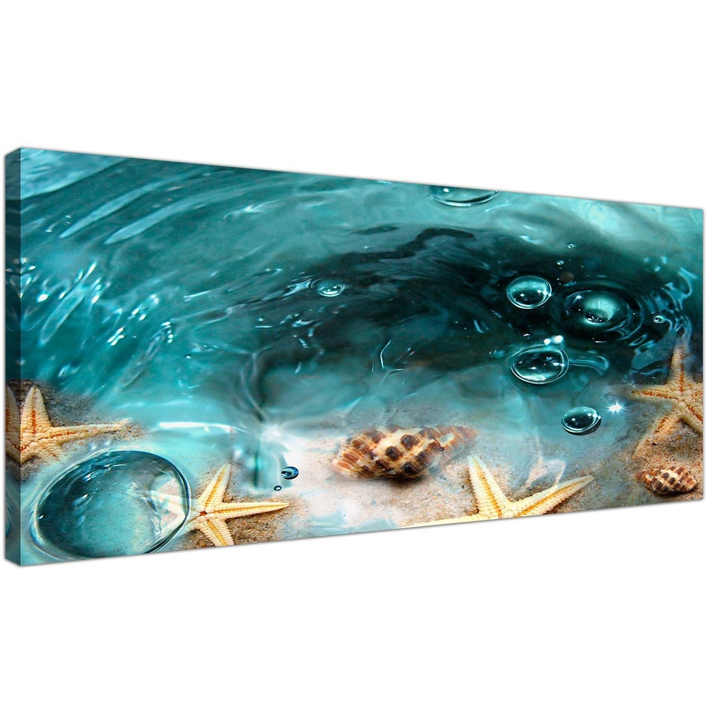 Teal Seaside Starfish In Sand Bathroom Wall Art With Bathroom Canvas Wall Art (View 13 of 20)