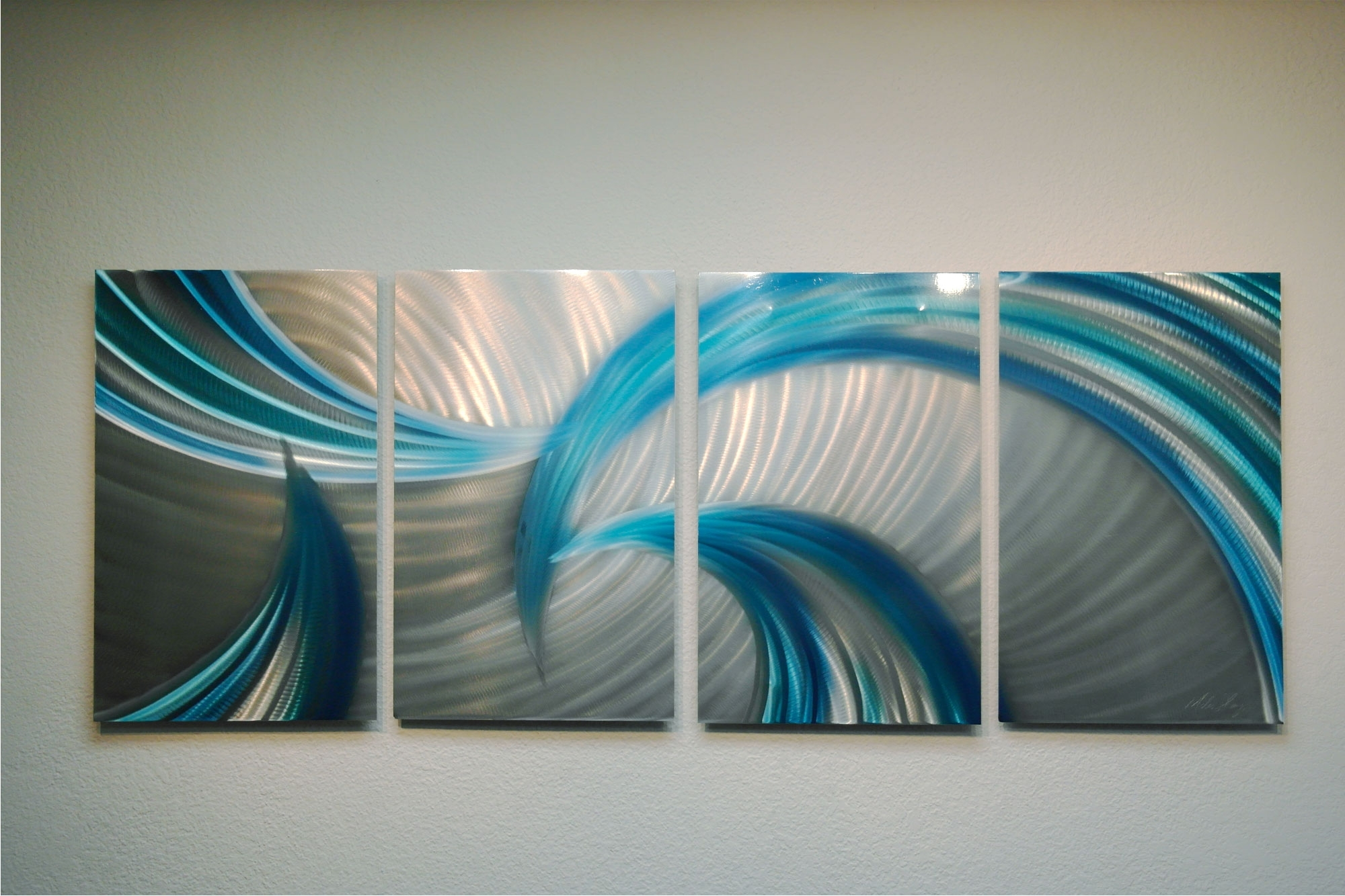 Tempest Blues V2 - Abstract Metal Wall Art Contemporary Modern Decor for Contemporary Wall Art Decors (Image 19 of 20)