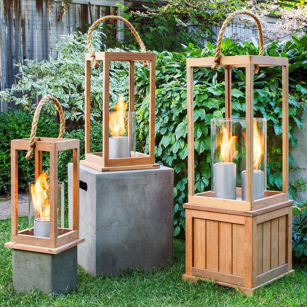 Terra Flame Sonoma 21-Inch Gel Lantern - Ipe Wood : Ultimate Patio in Outdoor Gel Lanterns (Image 18 of 20)