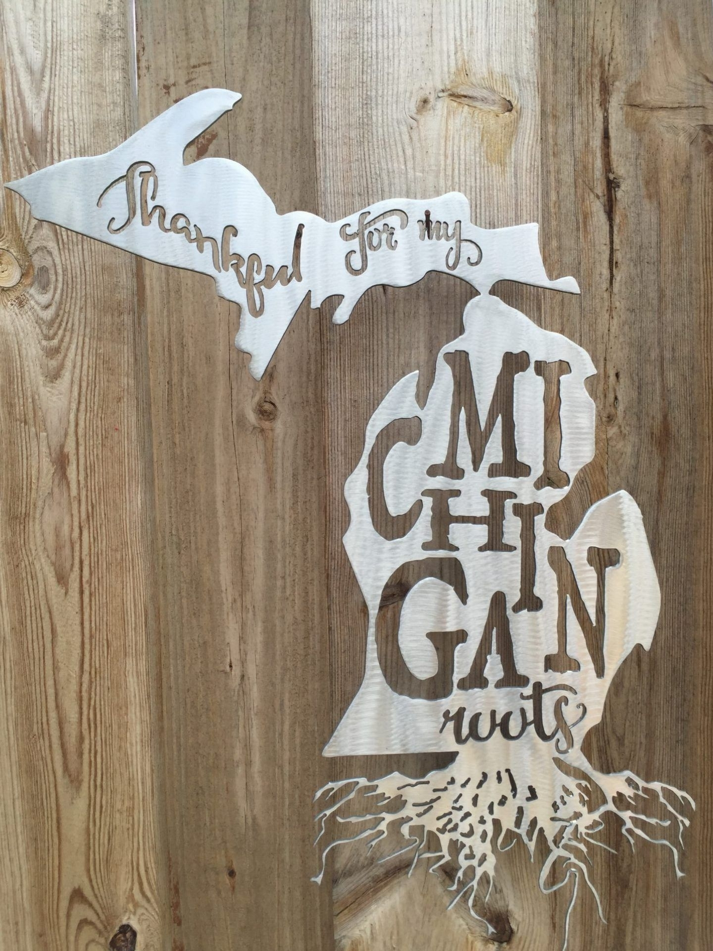 Thankful For My Michigan Roots Metal Wall Art | Josh's Christmas throughout Michigan Wall Art (Image 17 of 20)