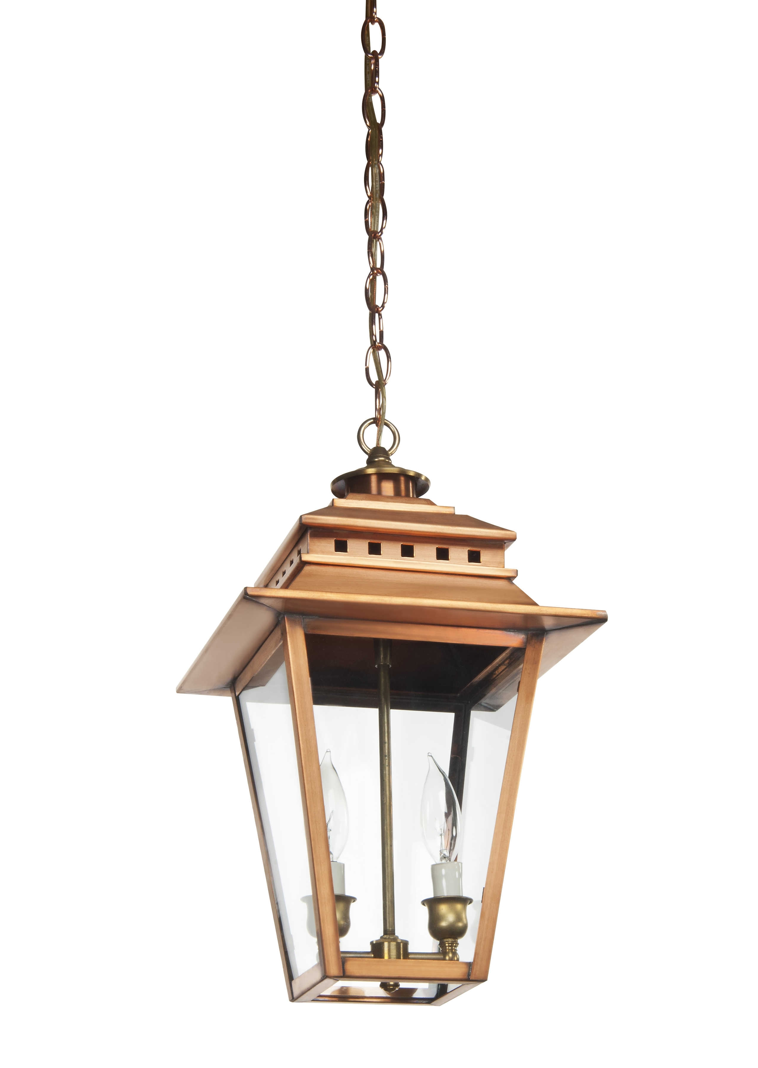 The Ashley Collection | As-300 Copper Hanging Light - Lantern & Scroll in Copper Outdoor Electric Lanterns (Image 16 of 20)
