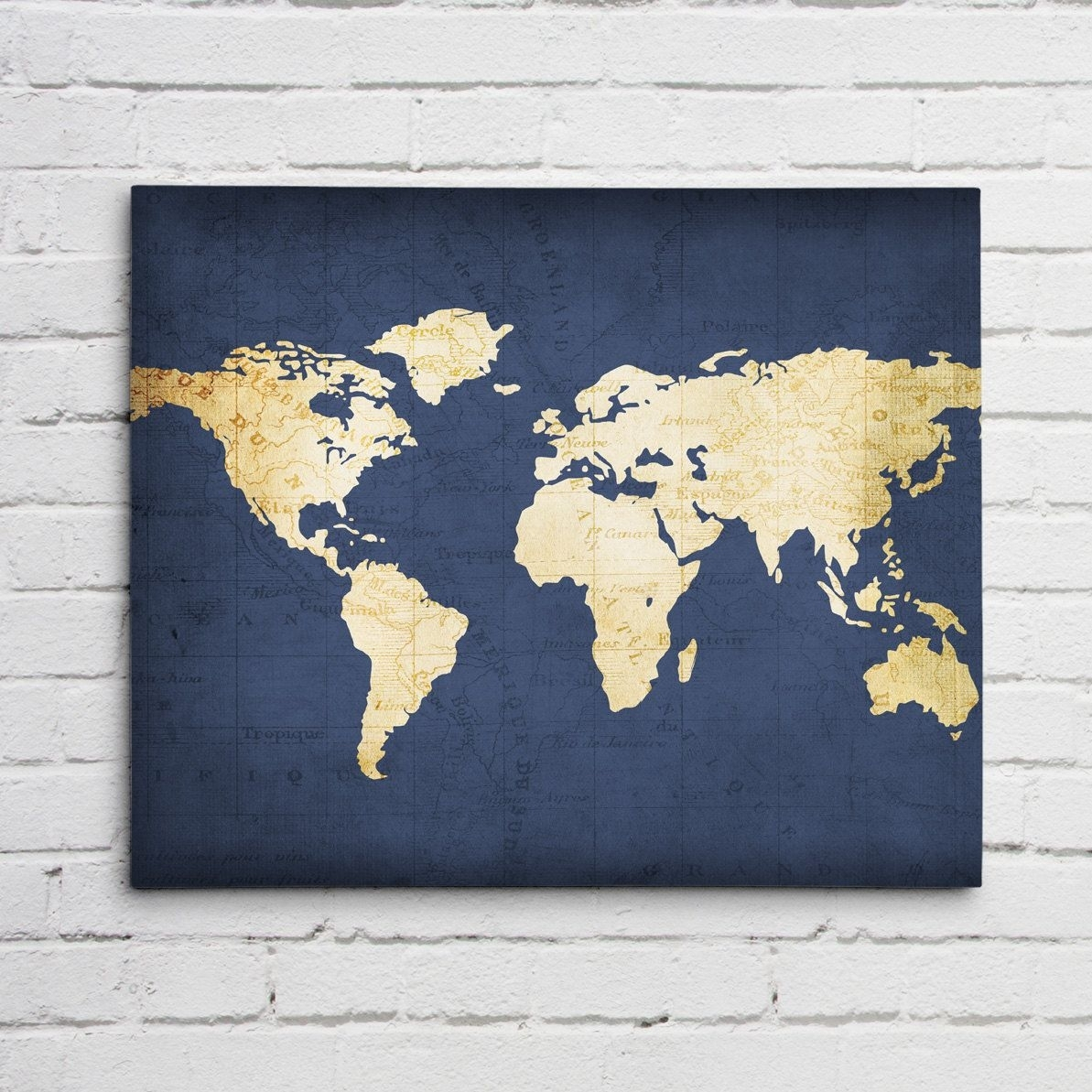 The Best Navy Blue World Map Pict Of Canvas Wall Art Styles And with regard to Navy Blue Wall Art (Image 18 of 20)