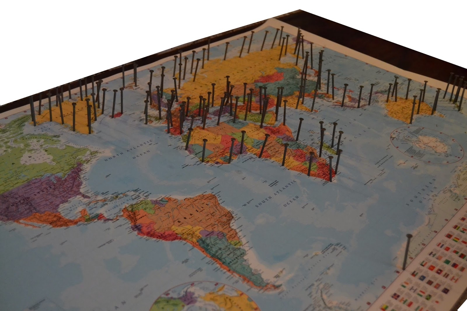 The Crafty Novice: Diy: String Art World Map Regarding String Map Wall Art (View 14 of 20)