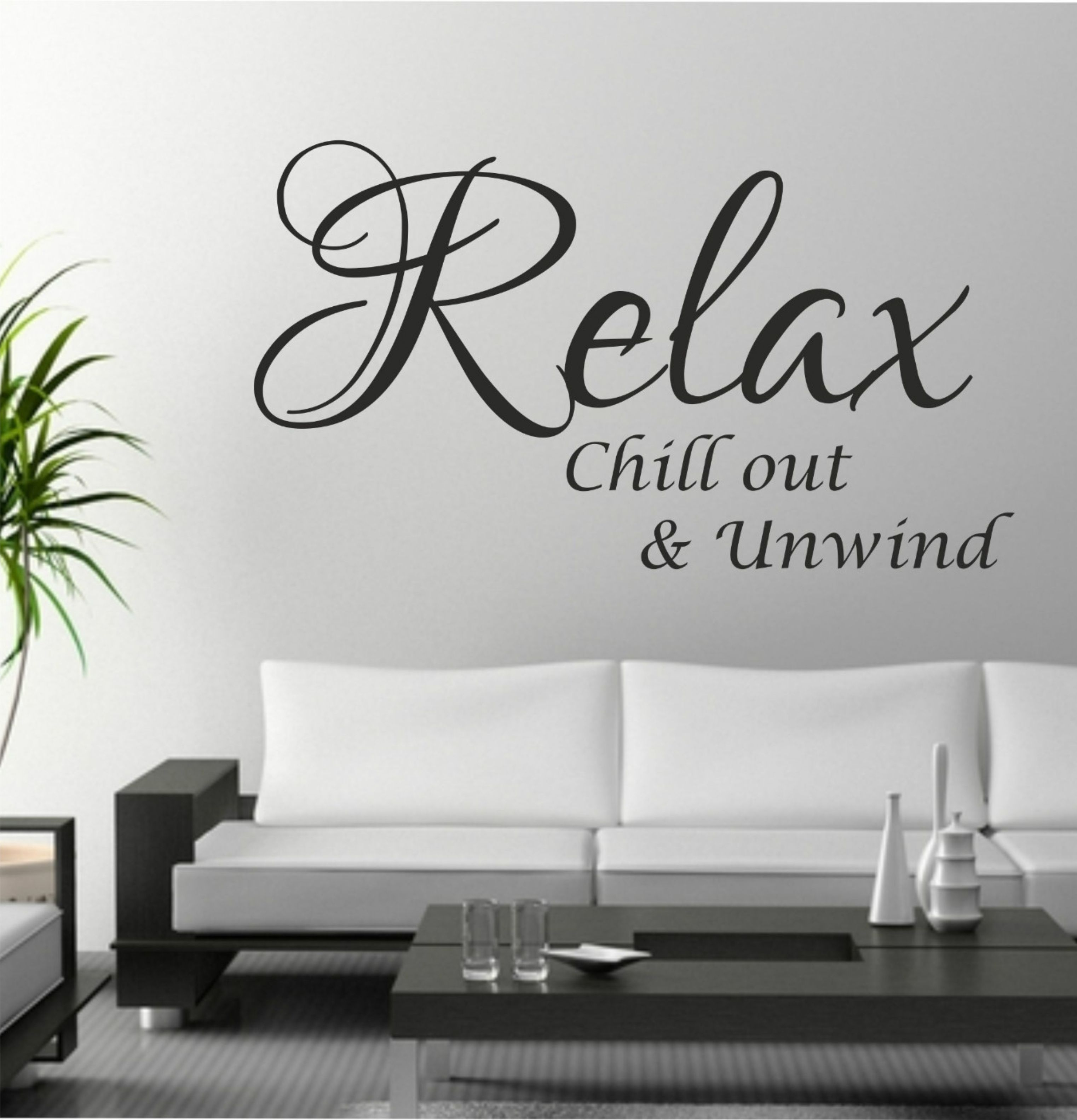 The Grafix Studio | Relax Chill Out Unwind Quote Wall Art Sticker For Wall Art Stickers (View 16 of 20)