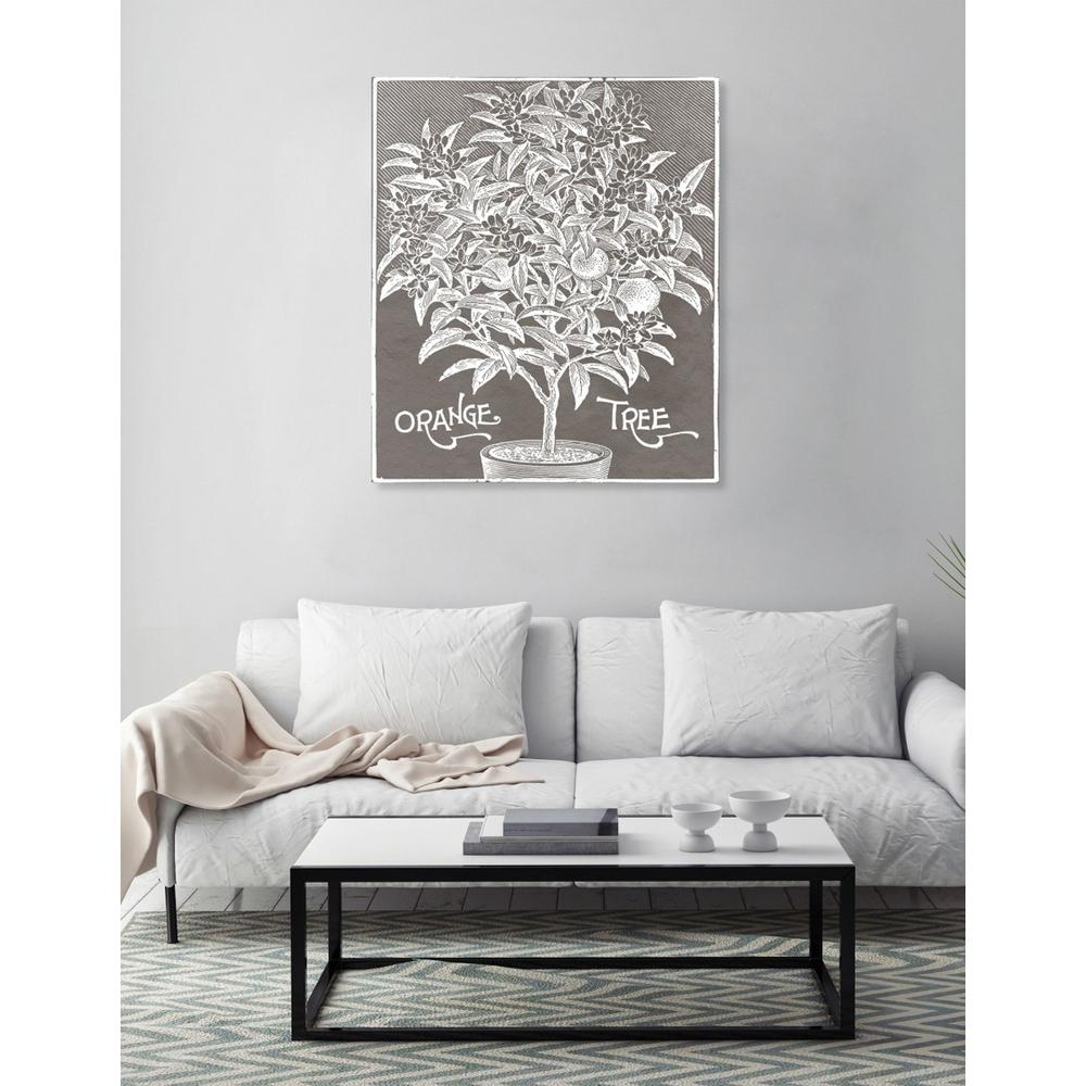 "The Oliver Gal Artist Co. 20 In. X 17 In. W ""orange Tree Woodblock pertaining to Grey and White Wall Art (Image 18 of 20)"