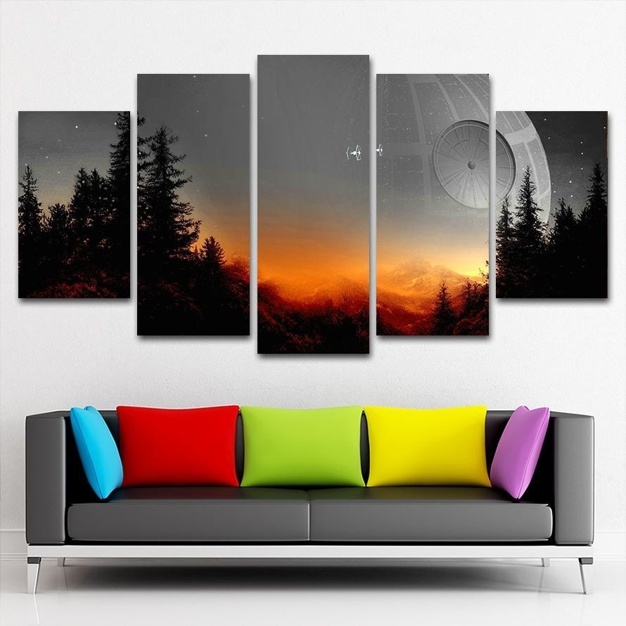 The Star Wars Death Star Scene | 5 Panel Wall Art Canvas Prints Within 5 Panel Wall Art (View 17 of 20)