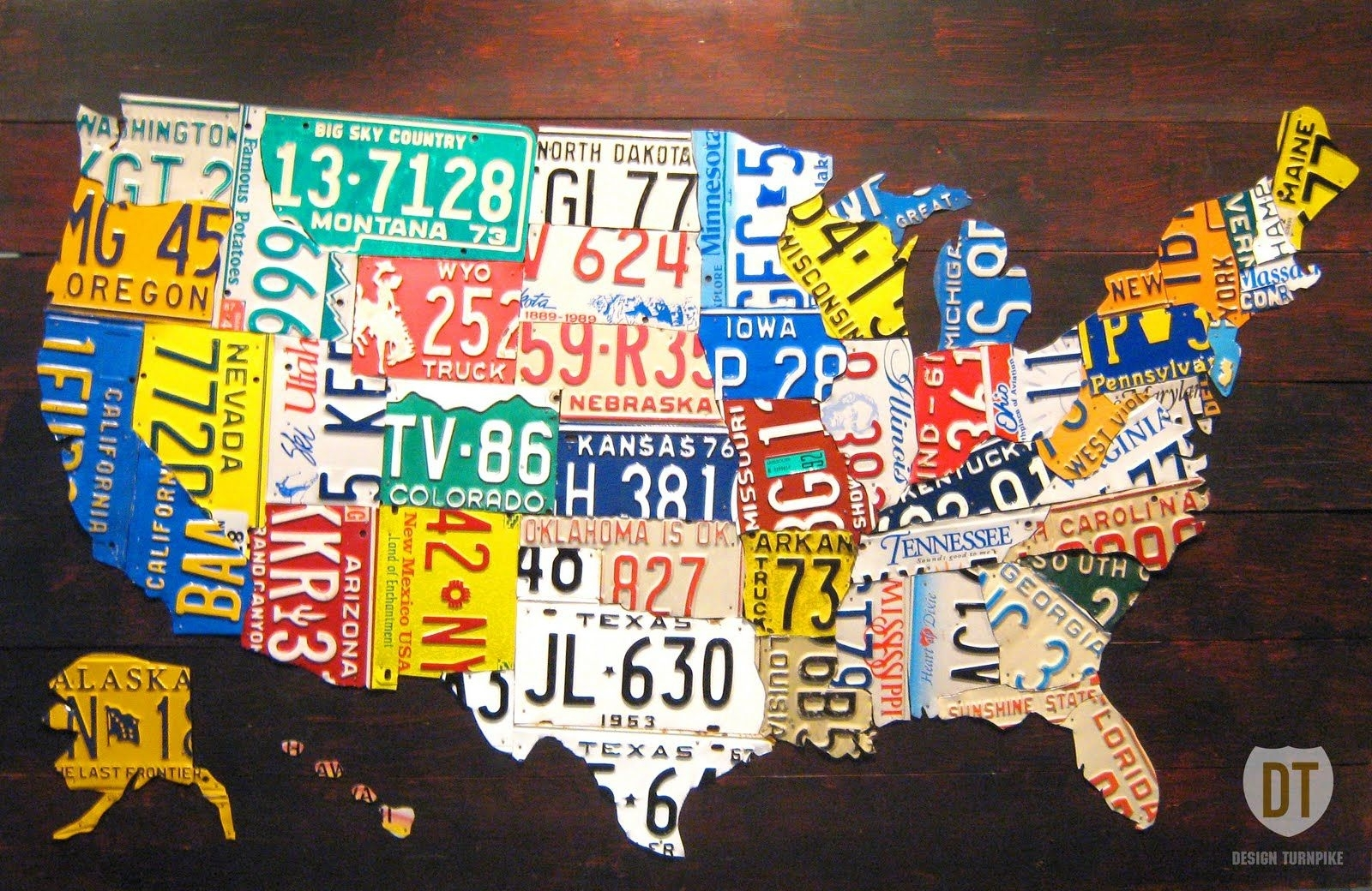 The Tin Snip Times: February 2011 | Miscellaneous | Pinterest Within License Plate Map Wall Art (View 12 of 20)