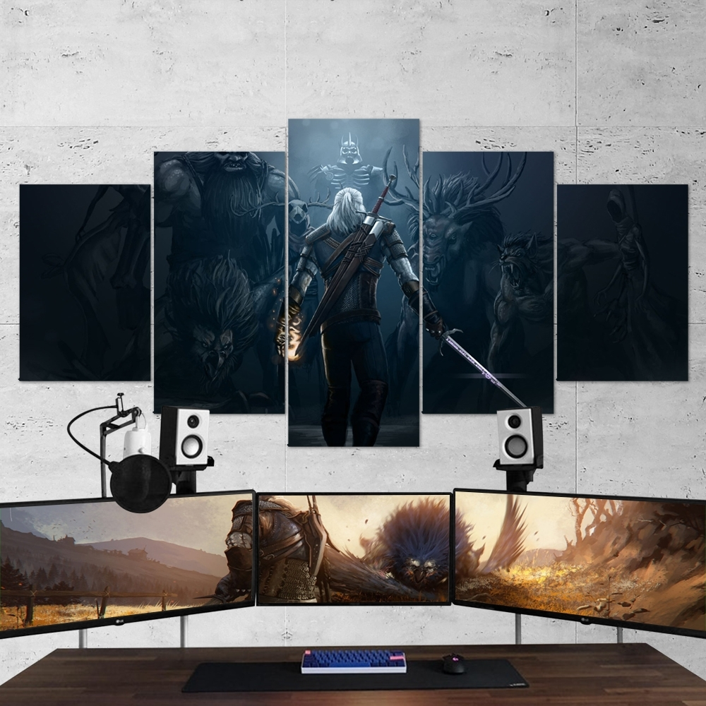 The Witcher 02 – 5 Piece Canvas Wall Art Gaming Canvas – Game Wall Art with Canvas Wall Art (Image 19 of 20)