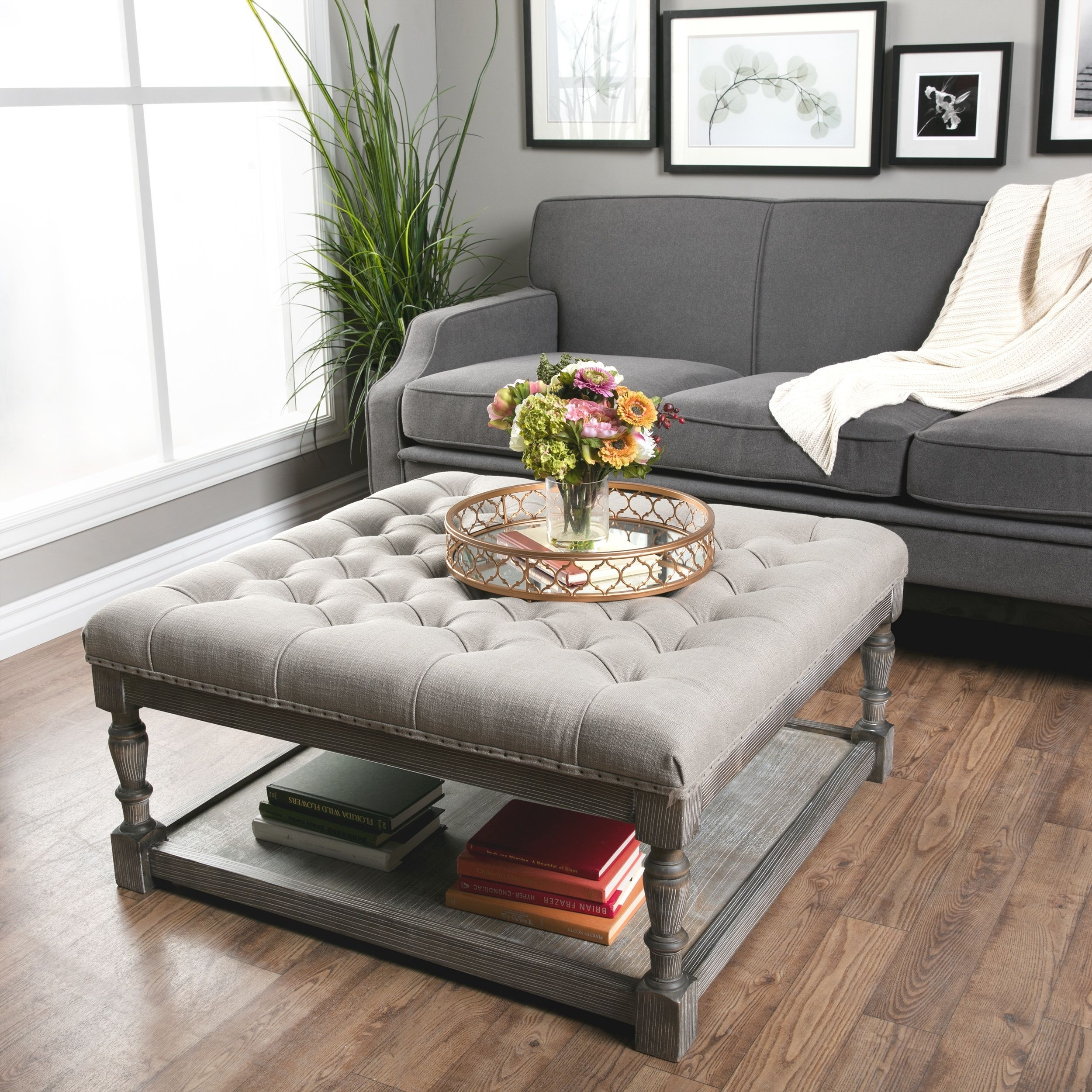 This Beautiful Creston Square Ottoman Features Comfortable, Durable intended for Button Tufted Coffee Tables (Image 27 of 30)