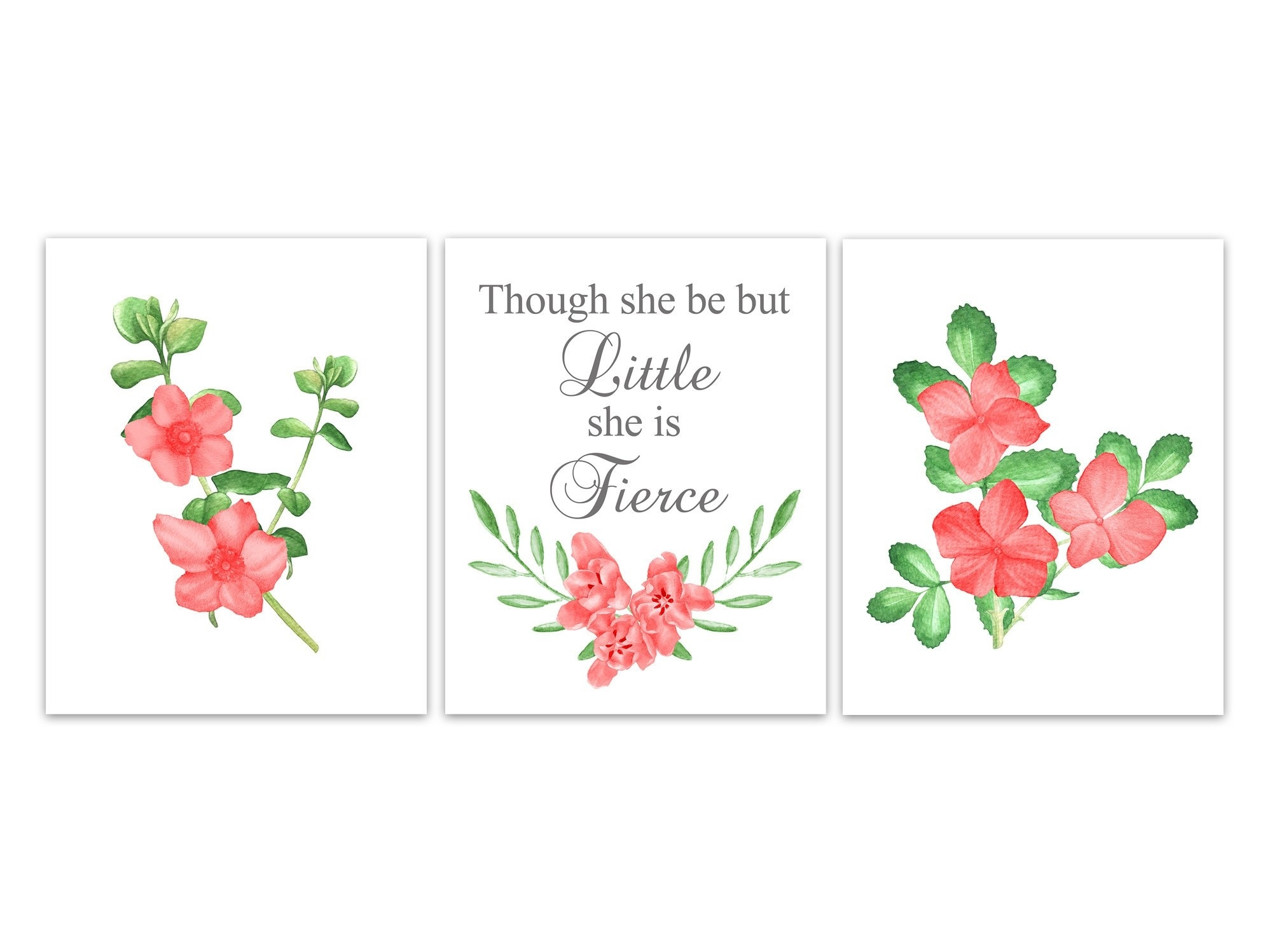 Though She Be But Little She Is Fierce Nursery Quote Art, Coral And Pertaining To Though She Be But Little She Is Fierce Wall Art (View 15 of 20)