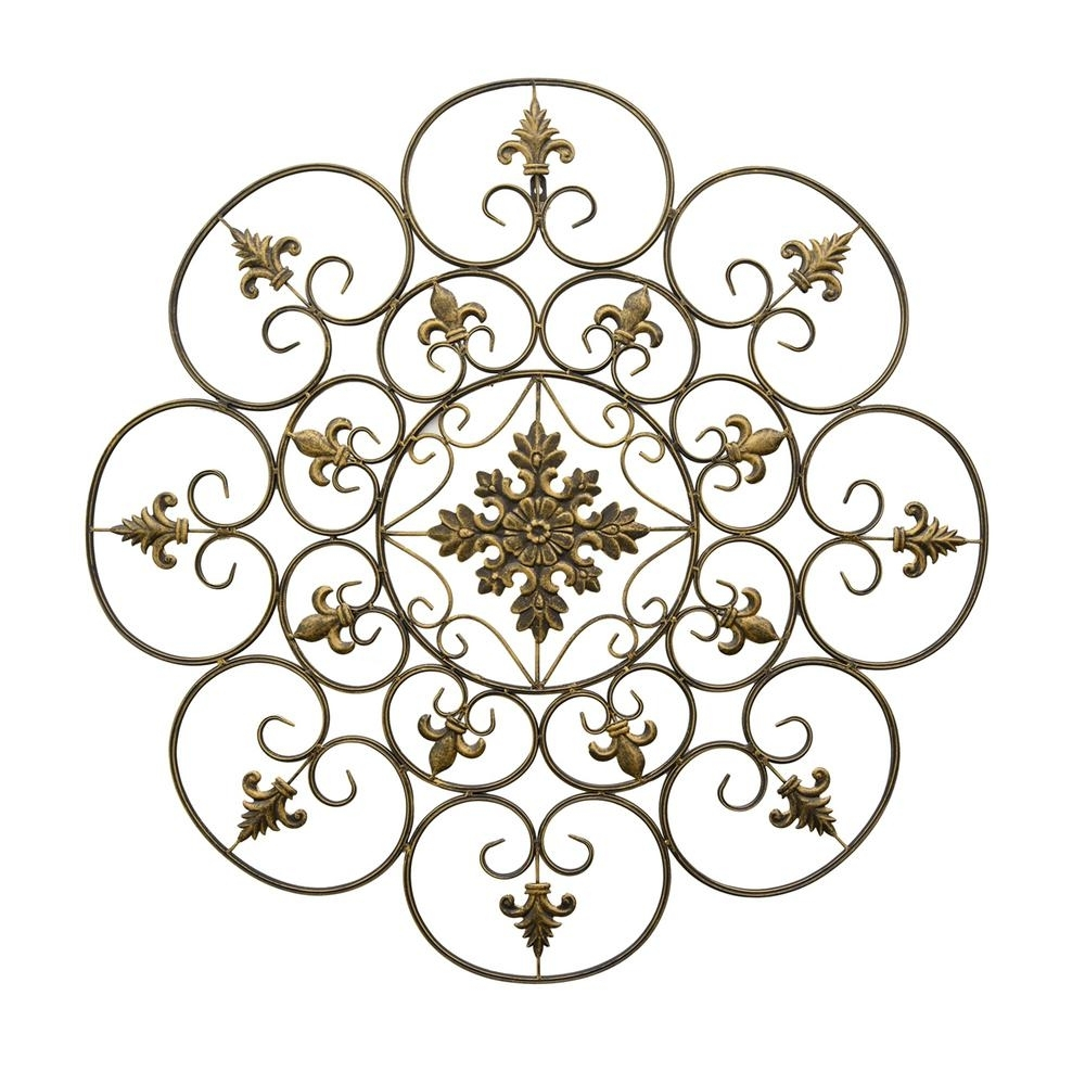 Three Hands Gold Metal Scroll Wall Art-87909 - The Home Depot inside Metal Scroll Wall Art (Image 16 of 20)