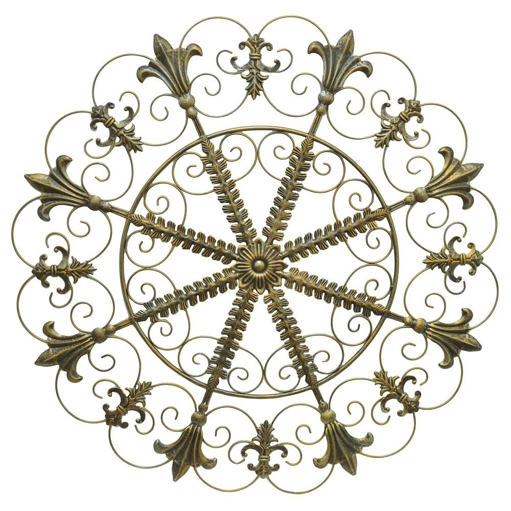 Three Hands Metal Scroll Wall Art - Antique Gold-94151 - The Home Depot intended for Metal Scroll Wall Art (Image 17 of 20)