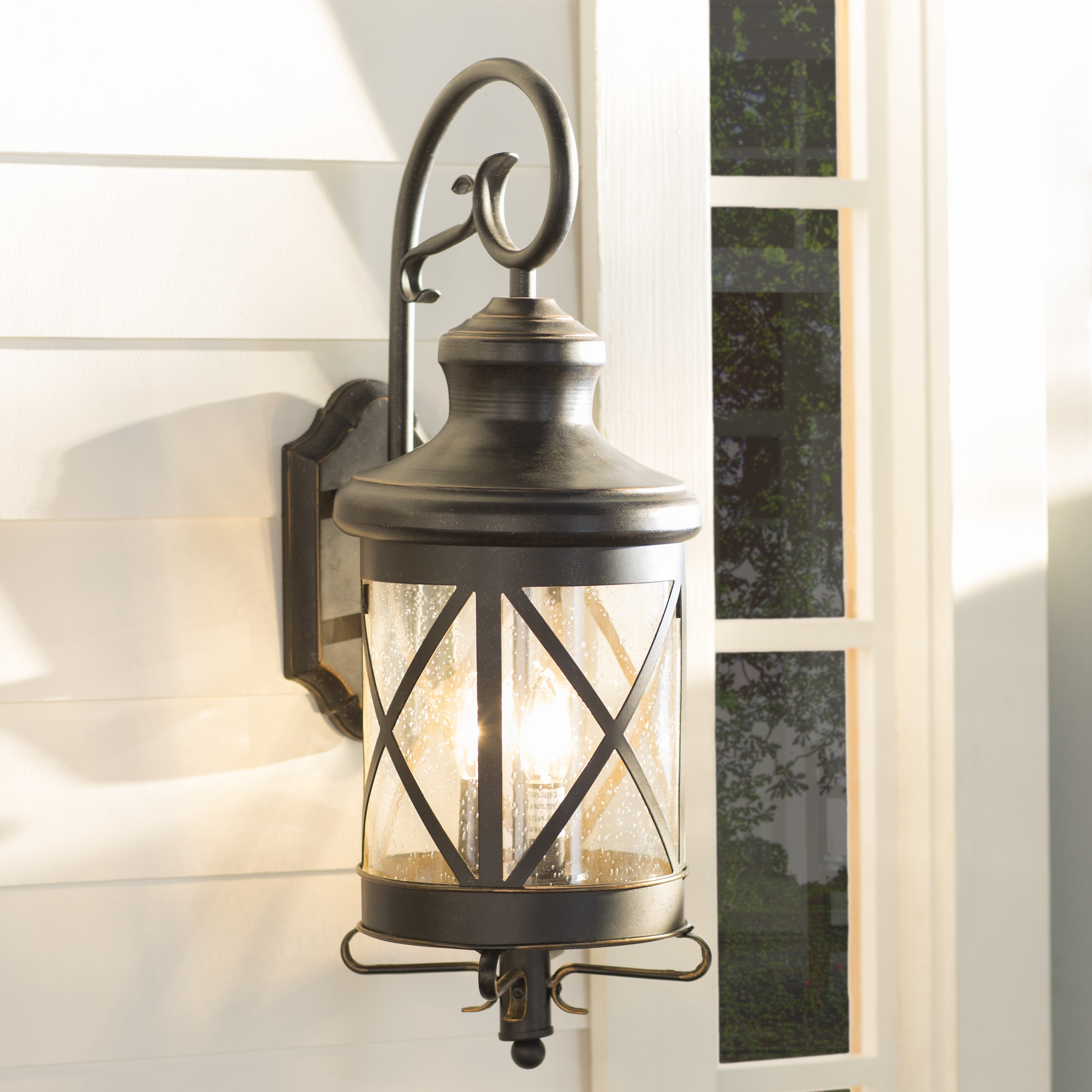 Three Posts Fairbury Outdoor Wall Lantern & Reviews | Wayfair for Outdoor Vinyl Lanterns (Image 19 of 20)