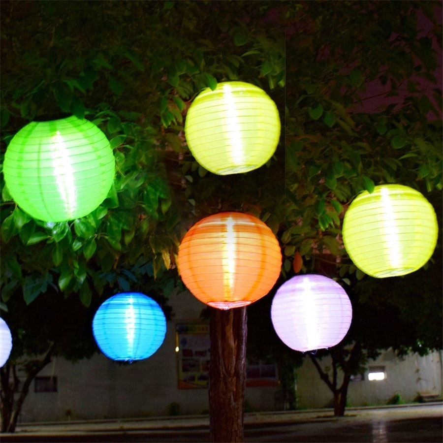Thrisdar 5Pcs D30Cm Big Lantern Ball Outdoor Solar Hanging Lamps intended for Outdoor Nylon Lanterns (Image 18 of 20)