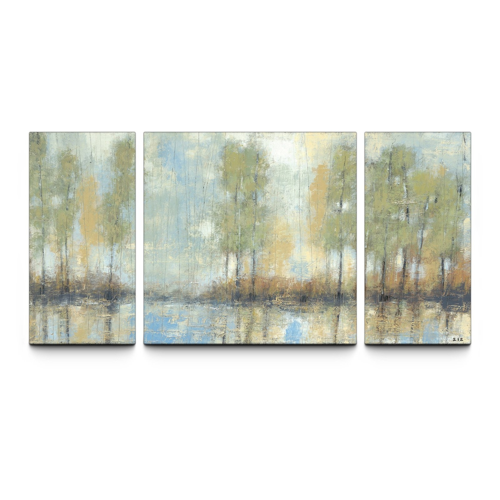 Through The Mist 30 X 60 Textured Canvas Art Print Triptych In Triptych Wall Art (View 13 of 20)