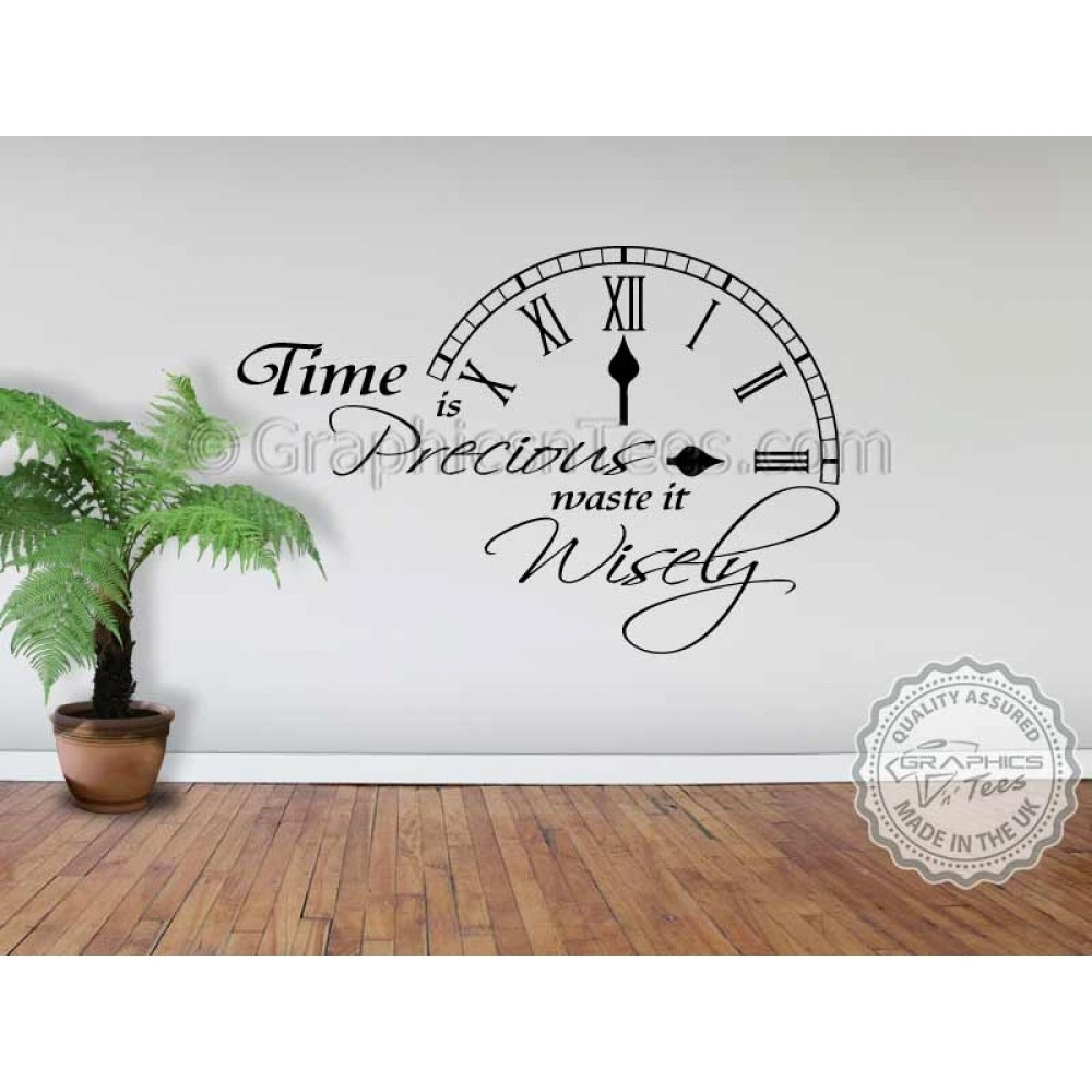 Time Is Precious Waste It Wisely Inspirational Wall Quote Family Regarding Family Wall Art (View 7 of 20)