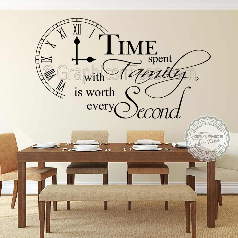 Time Spent With Family Wall Sticker Inspirational Quote, Home Vinyl Pertaining To Family Wall Art (View 13 of 20)