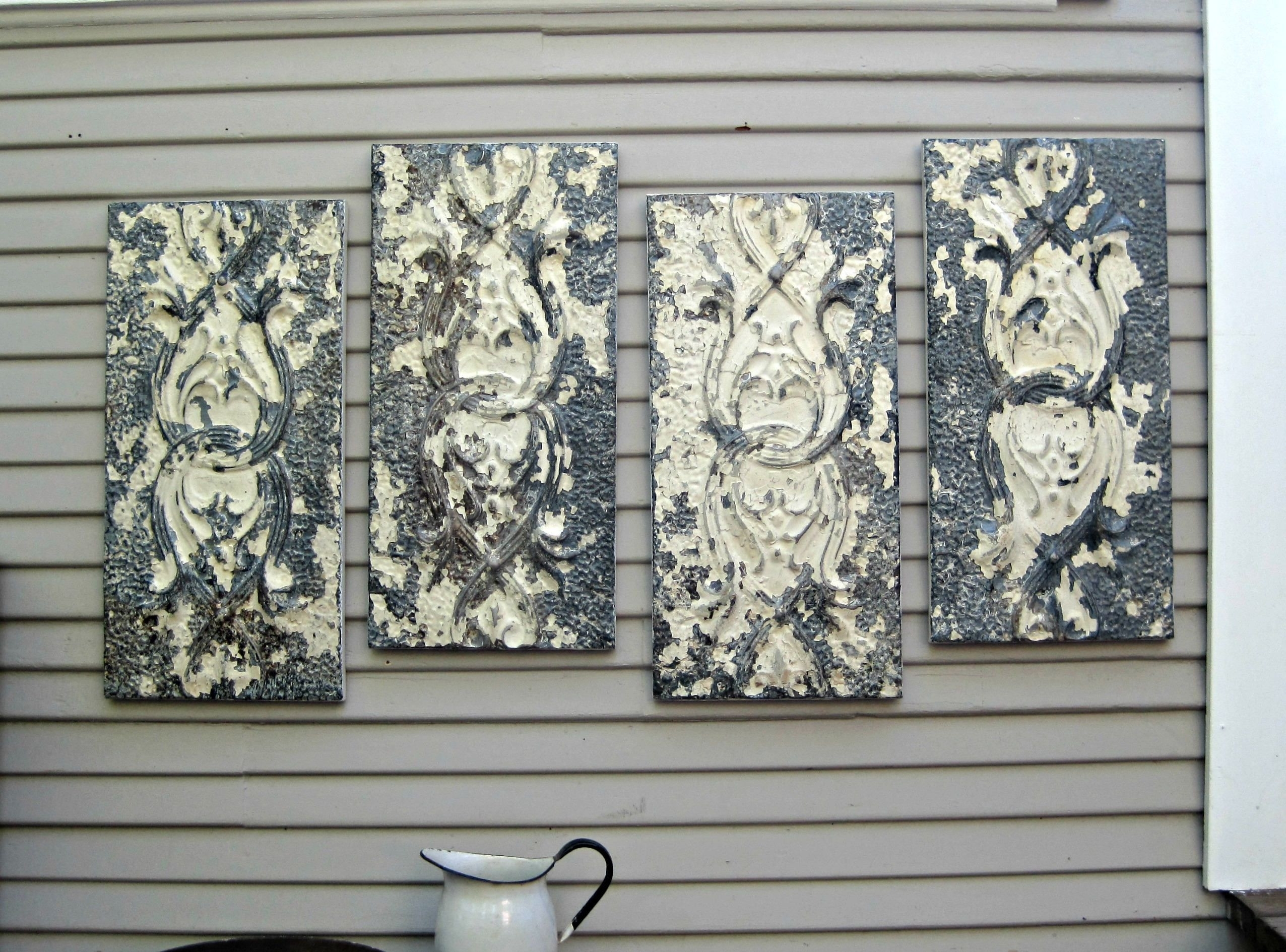 Tin Wall Tiles Best Of Wall Art Antique Ceiling Tin Tiles Distressed throughout Tin Wall Art (Image 19 of 20)