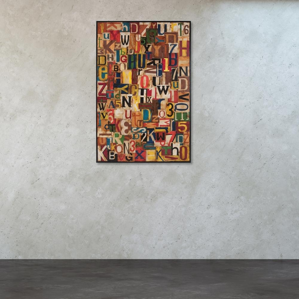 """Titan Lighting 72 In. X 48 In. """"typographic Collage"""" Tin And for Tin Wall Art (Image 20 of 20)"""