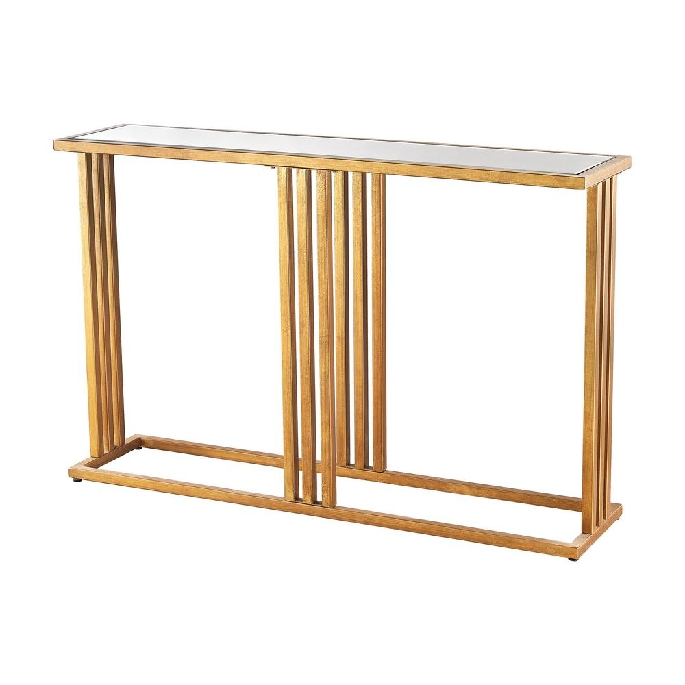 Titan Lighting Andy Gold Leaf And Clear Mirror Console Table-Tn intended for Gold Leaf Collection Coffee Tables (Image 28 of 30)
