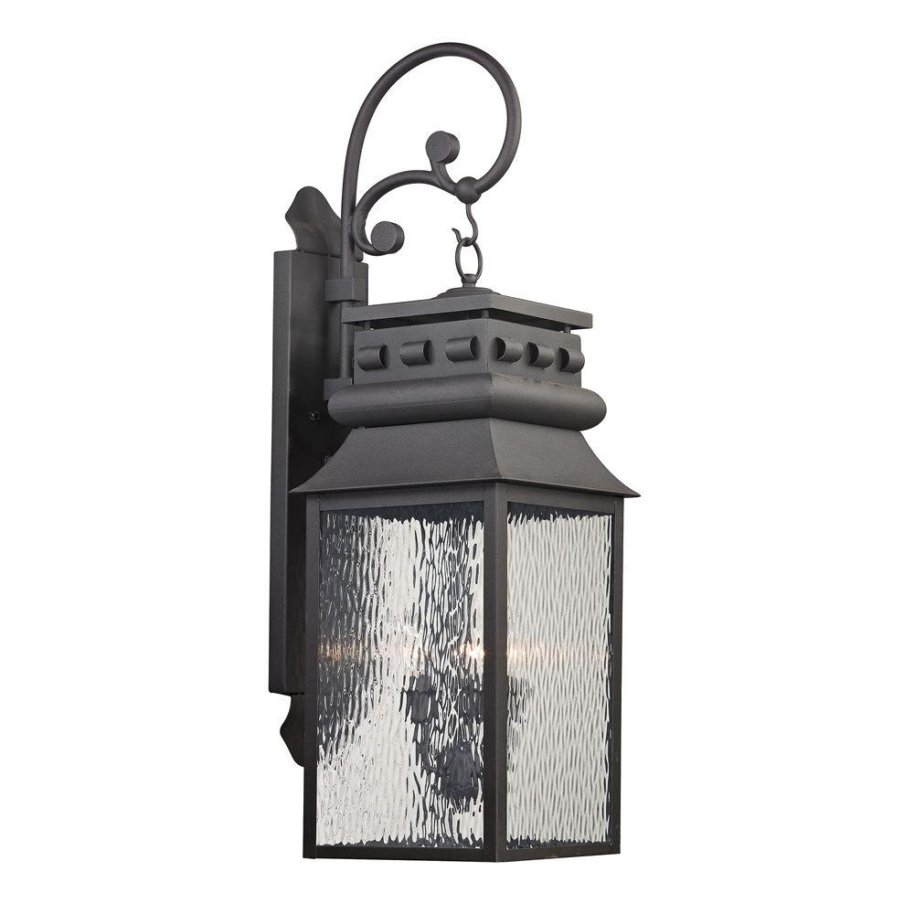 Titan Lighting Georgetown Collection 3-Light Charcoal Outdoor Sconce with regard to Jumbo Outdoor Lanterns (Image 20 of 20)