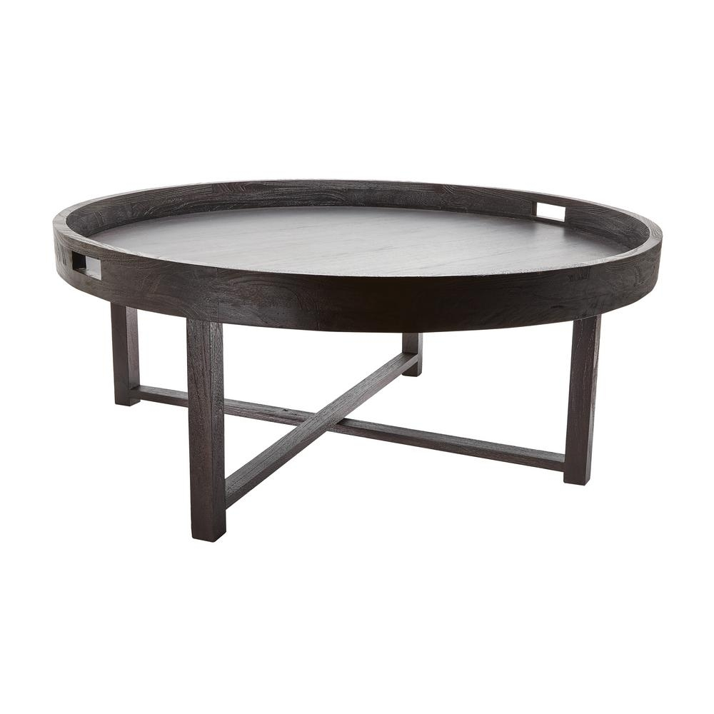 Titan Lighting Round Brown Teak Coffee Table-Tn-892407 - The Home Depot pertaining to Round Teak Coffee Tables (Image 29 of 30)