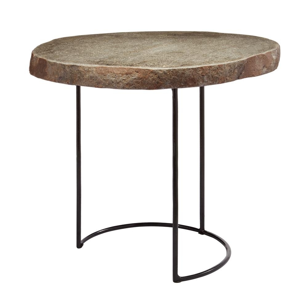 Titan Lighting Short Natural Stone Slab & Black Wire Frame Side with regard to Black Wire Coffee Tables (Image 22 of 30)