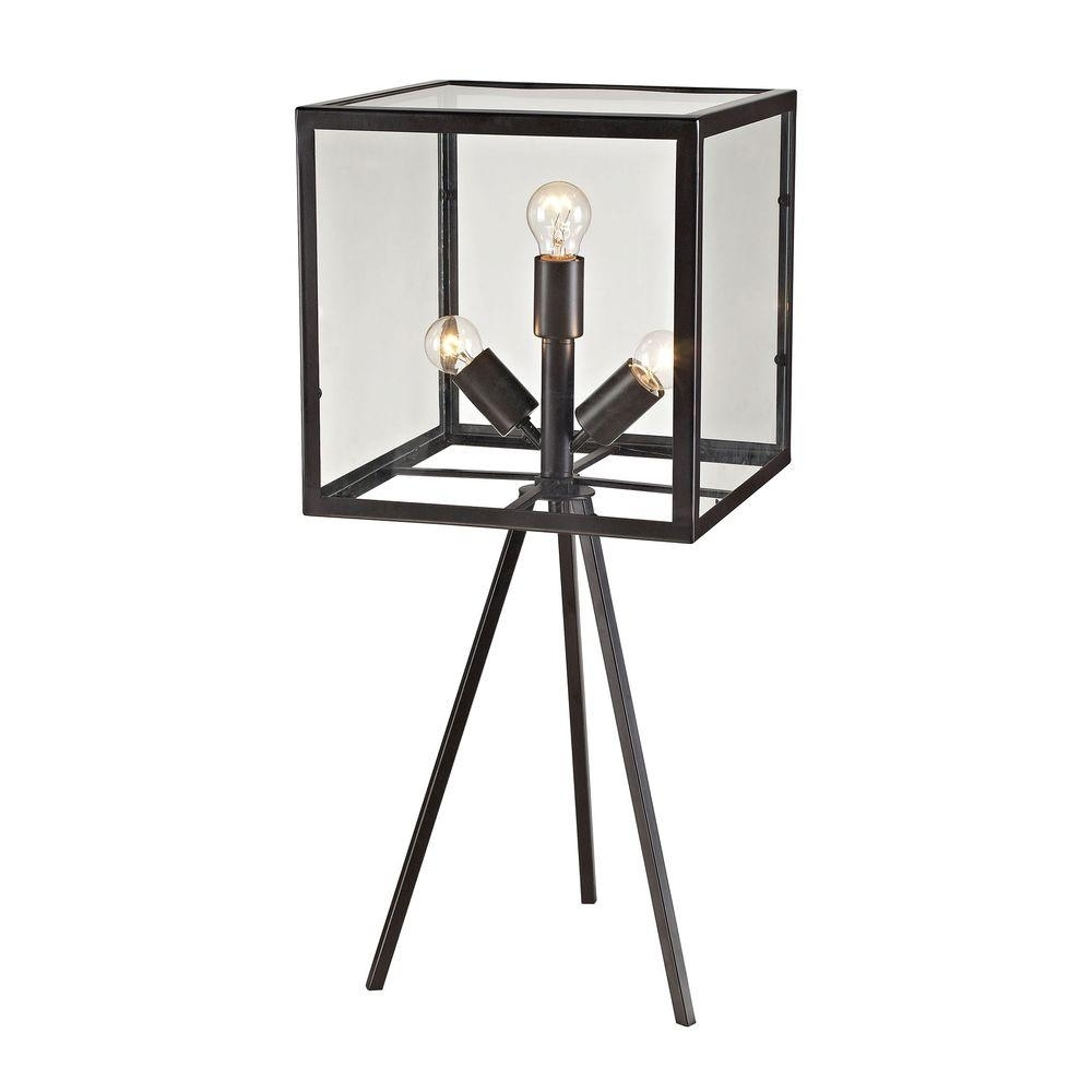 Titan Lighting Workshop Glass 28 In. Aged Bronze Cube Table Lamp-Tn throughout Aged Iron Cube Tables (Image 24 of 30)