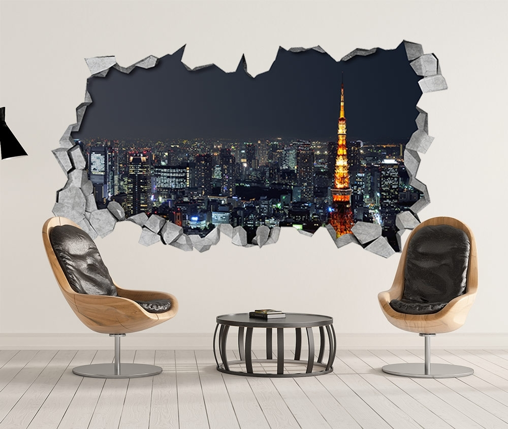 Tokyo – 3D Wallpaper – 3D Wall Art – Broken Wall – 3D Wall Stickers Intended For 3D Wall Art (View 19 of 20)