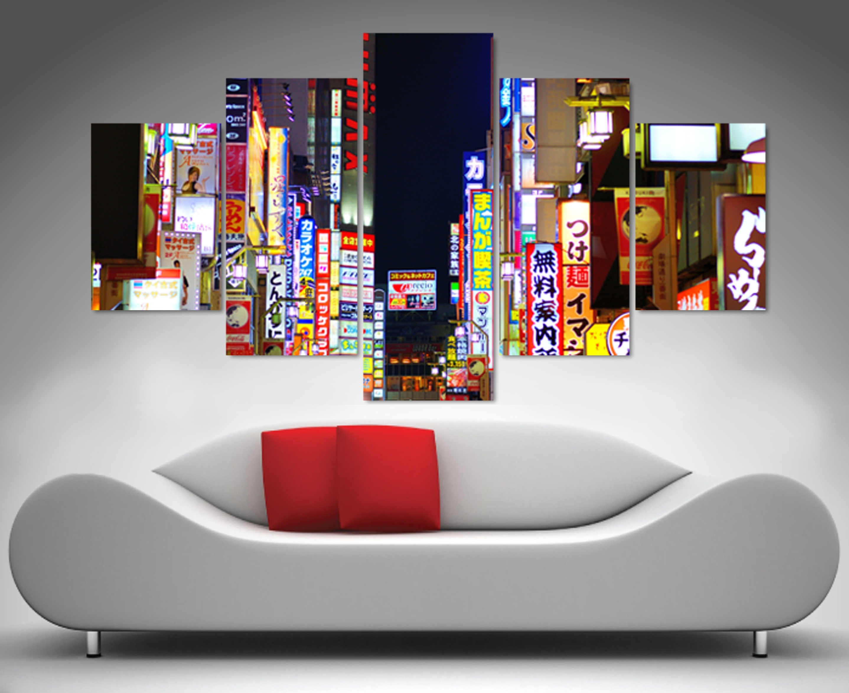 Tokyo Nights 5 Panel Wall Art Print Canvas pertaining to 5 Panel Wall Art (Image 18 of 20)