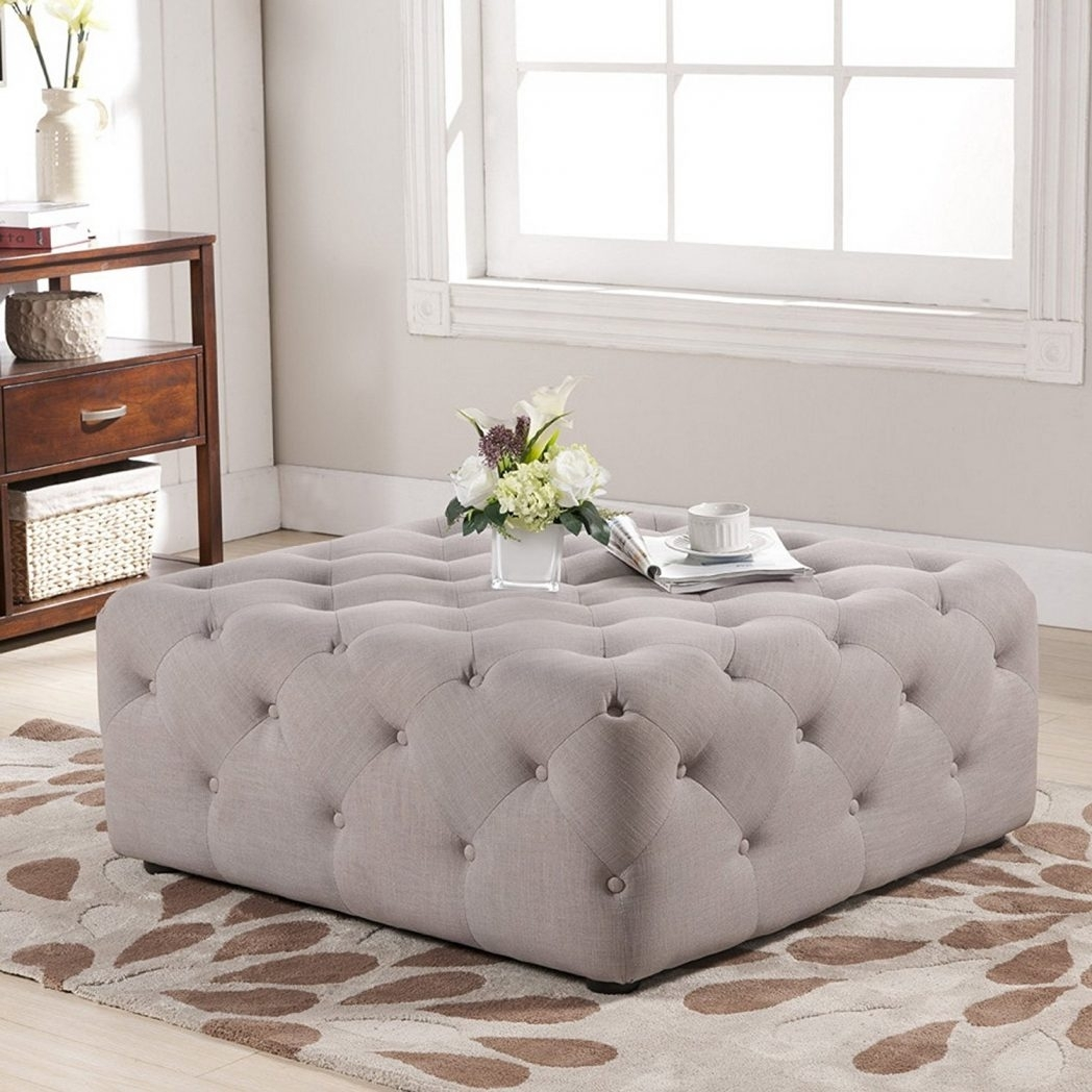Top Awesome Square Linen Upholstered Button Tufted Ottoman Coffee in Button Tufted Coffee Tables (Image 28 of 30)