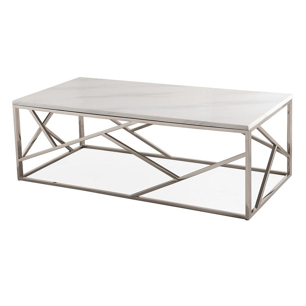 Tov Furniture Tov-Oc3745 Gayle Coffee Table White Marble Top Gloss throughout Large Slab Marble Coffee Tables With Antiqued Silver Base (Image 30 of 30)