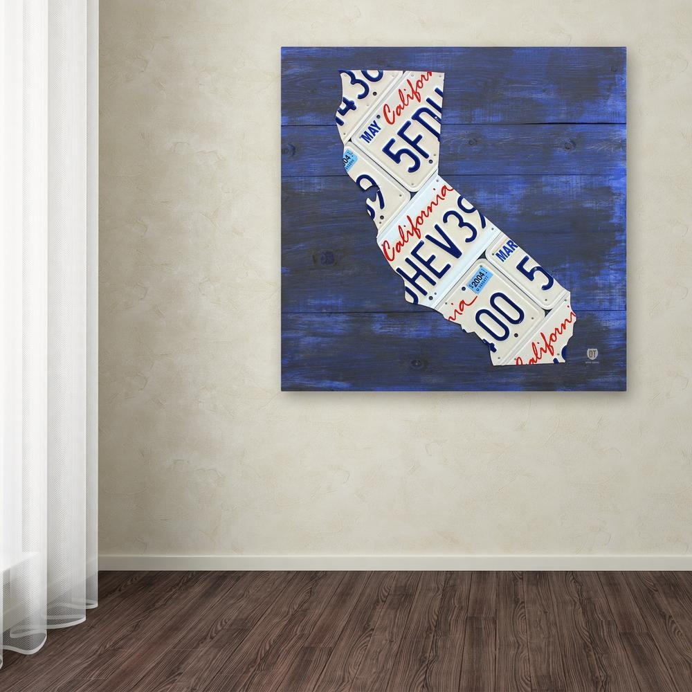 "Trademark Fine Art 24 In. X 24 In. ""california License Plate Map"" pertaining to California Wall Art (Image 19 of 20)"