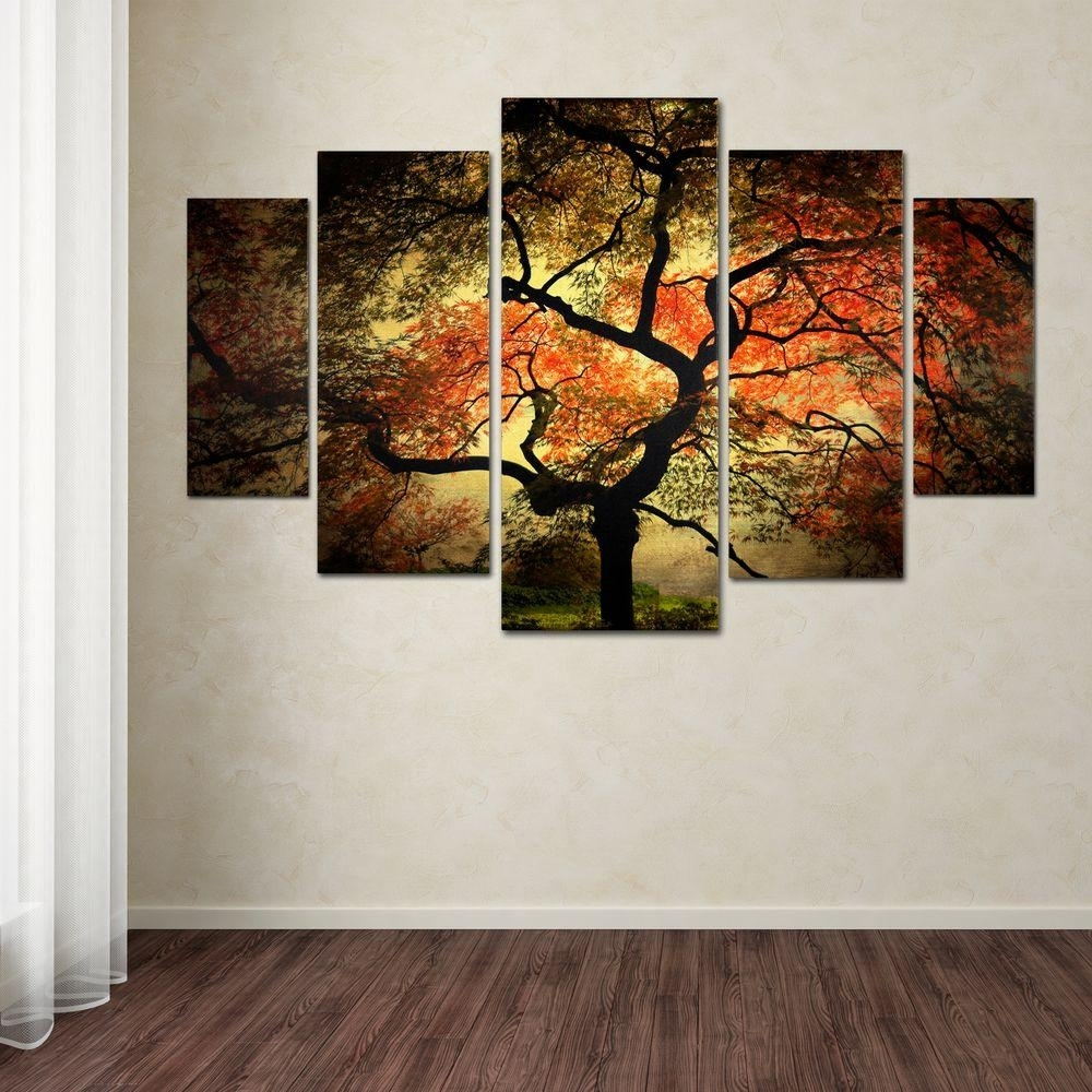 Trademark Fine Art Japanesephilippe Sainte Laudy 5 Panel Wall With Regard To Canvas Wall Art Sets (View 14 of 20)
