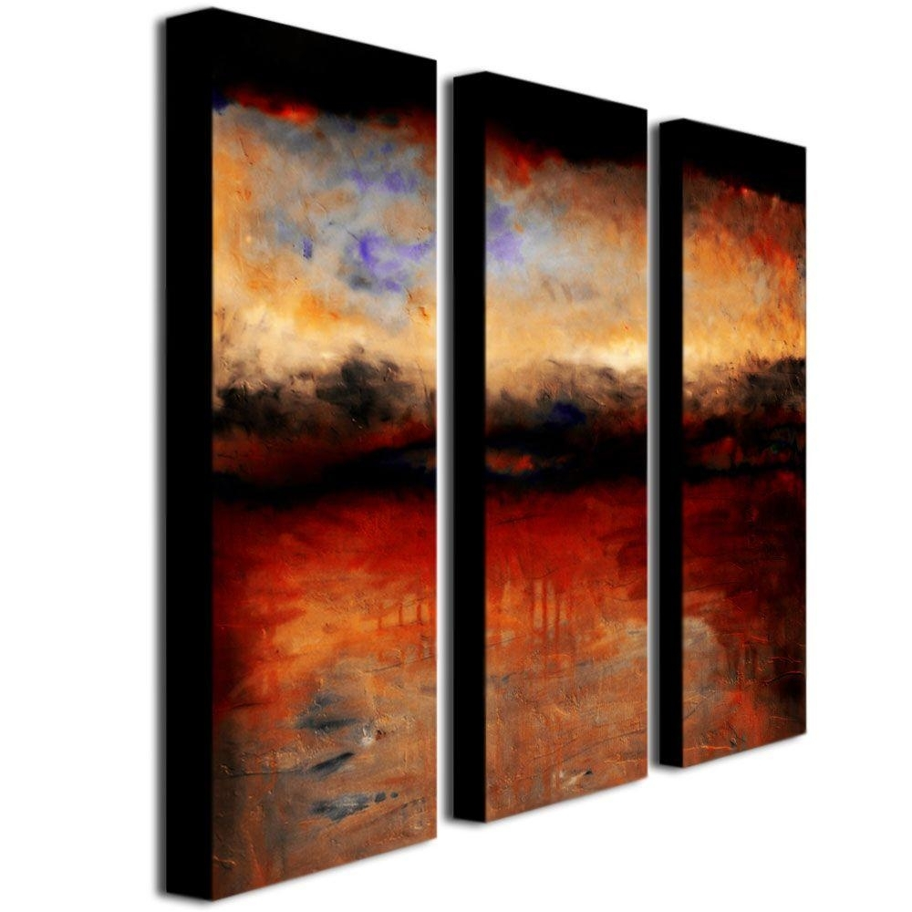 Trademark Fine Art Red Skies At Nightmichelle Calkins 3 Panel Within Wall Art Panels (View 10 of 20)