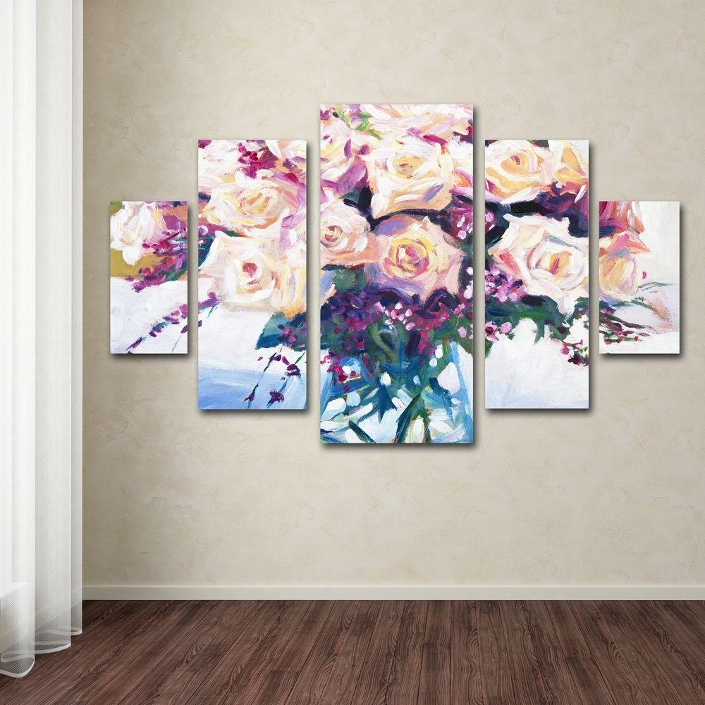 Trademark Fine Art Roses In Glassdavid Lloyd Glover 5-Panel Wall for 5 Piece Canvas Wall Art (Image 20 of 20)