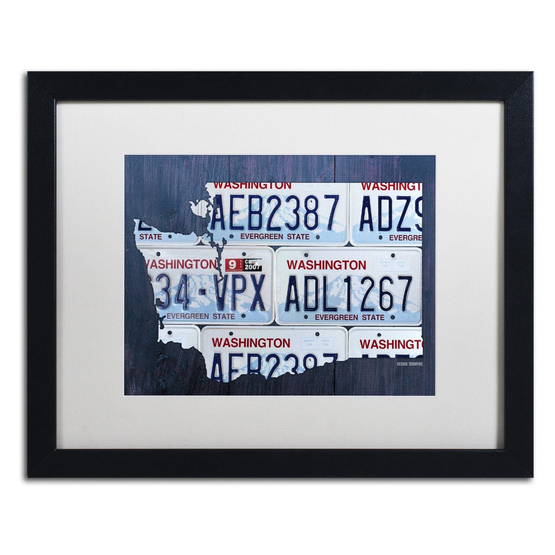 Trademark Fine Art Washington License Plate Map Framed Wall Art Throughout License Plate Map Wall Art (View 14 of 20)