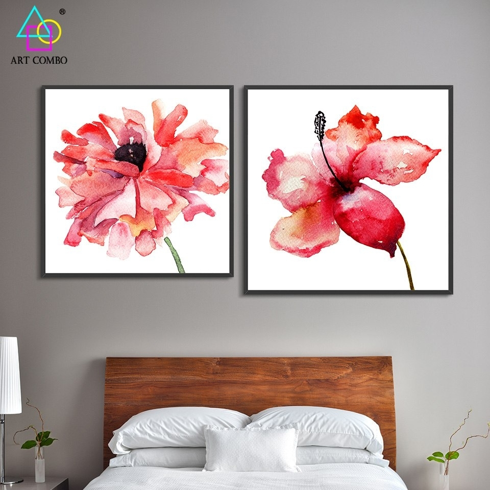 Traditional Chinese Canvas Painting Bright Colored Beautiful Flowers pertaining to Chinese Wall Art (Image 17 of 20)