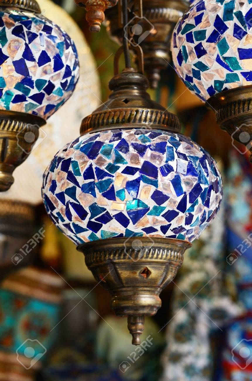Traditional Turkish Mosaic Lanterns In Blue Color Stock Photo Intended For Outdoor Mosaic Lanterns (View 17 of 20)