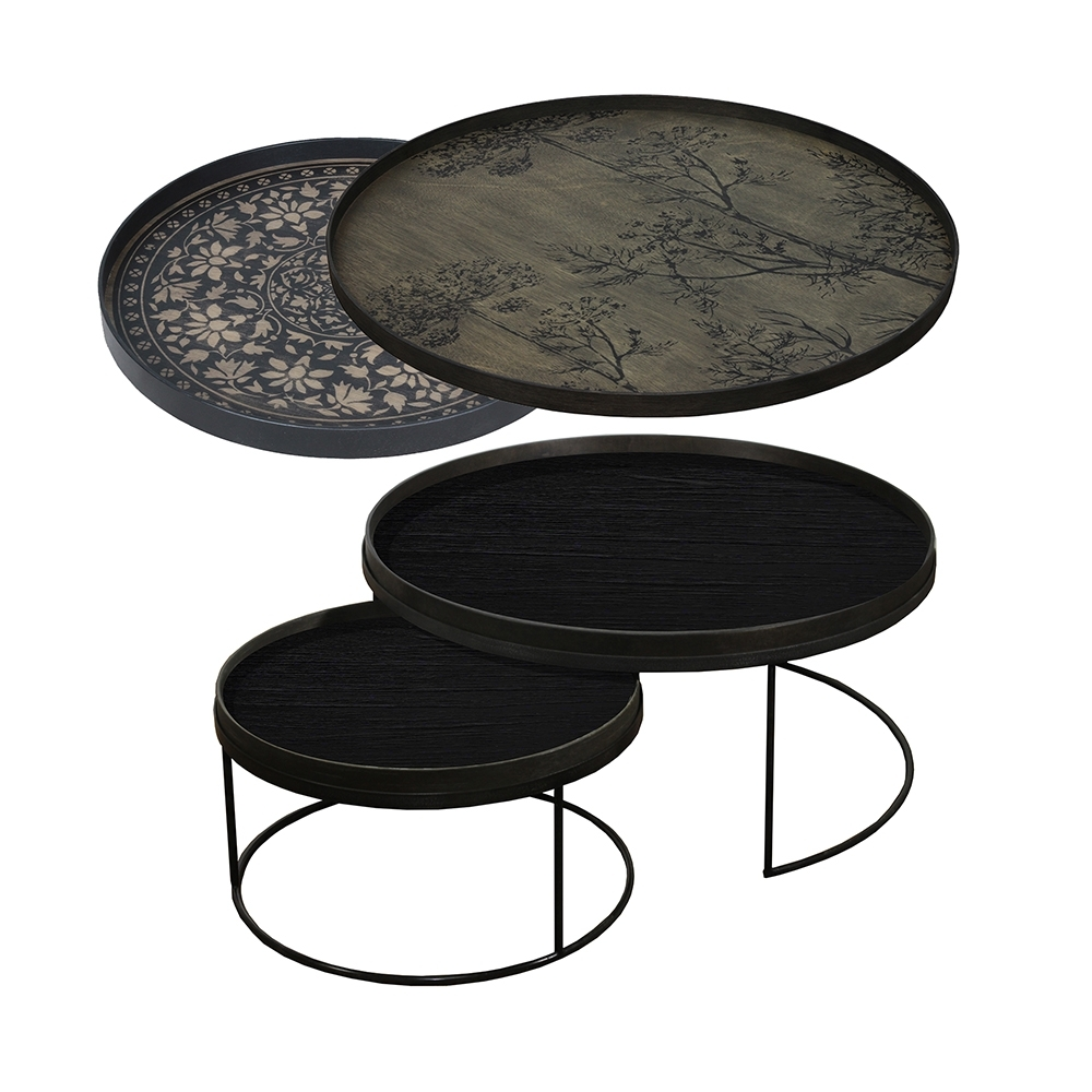 Tray Nesting Tables Low Round Xl – Black Marrakesh And Black Dill with regard to Marrakesh Side Tables (Image 30 of 30)