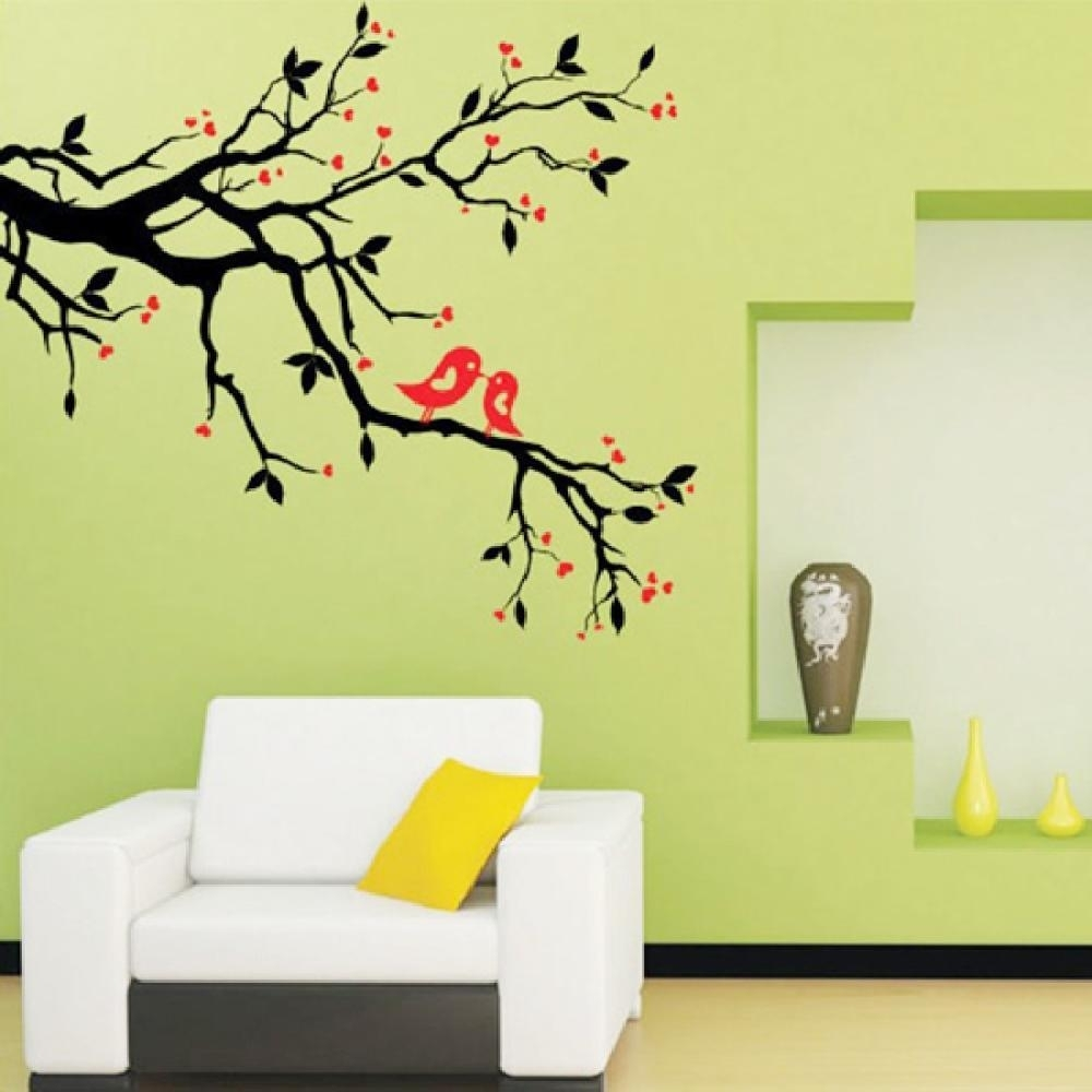 Tree Branch Love Birds Cherry Blossom Wall Decor Decals Removable with regard to Cherry Blossom Wall Art (Image 19 of 20)