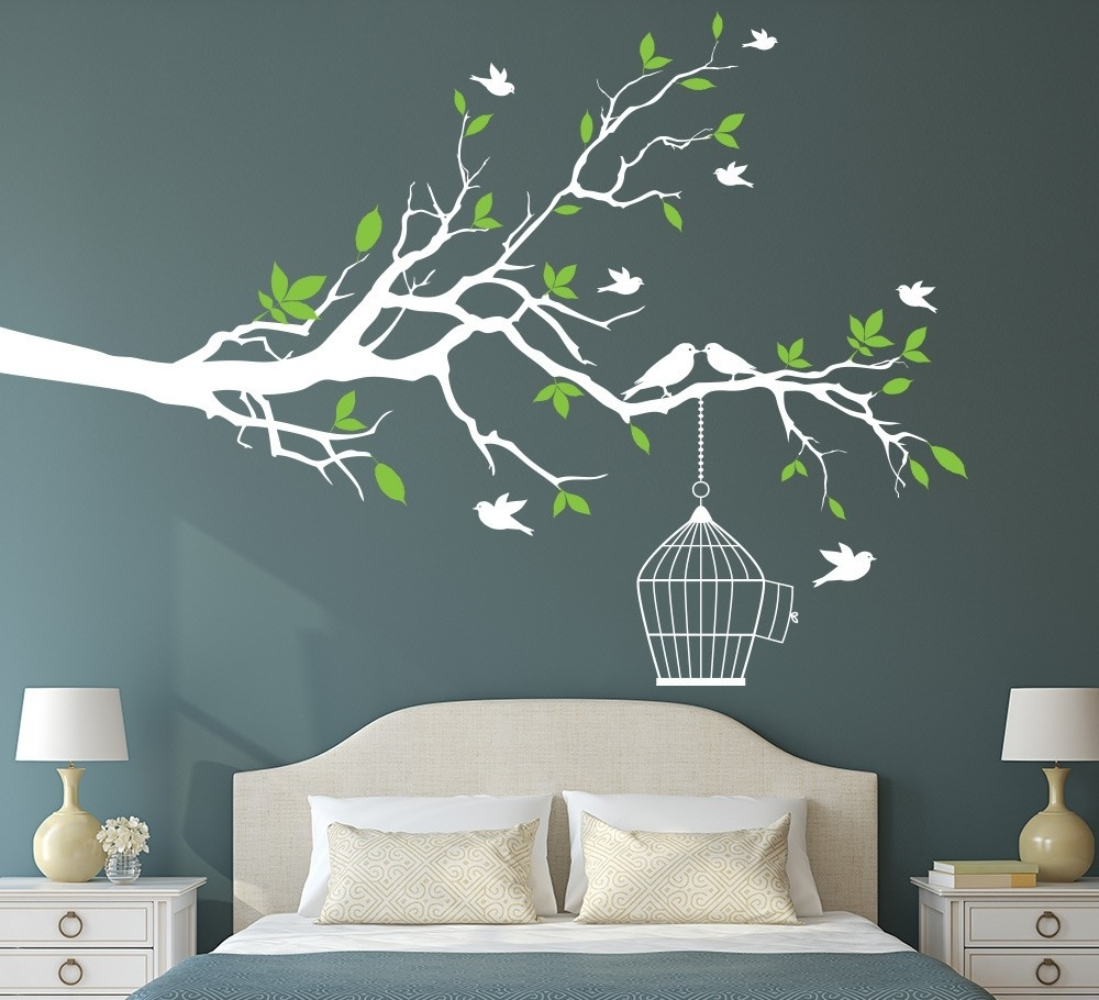 Tree Branch Wall Art Sticker With Bird Cage Removable Vinyl Wall For Wall Art Stickers (View 2 of 20)