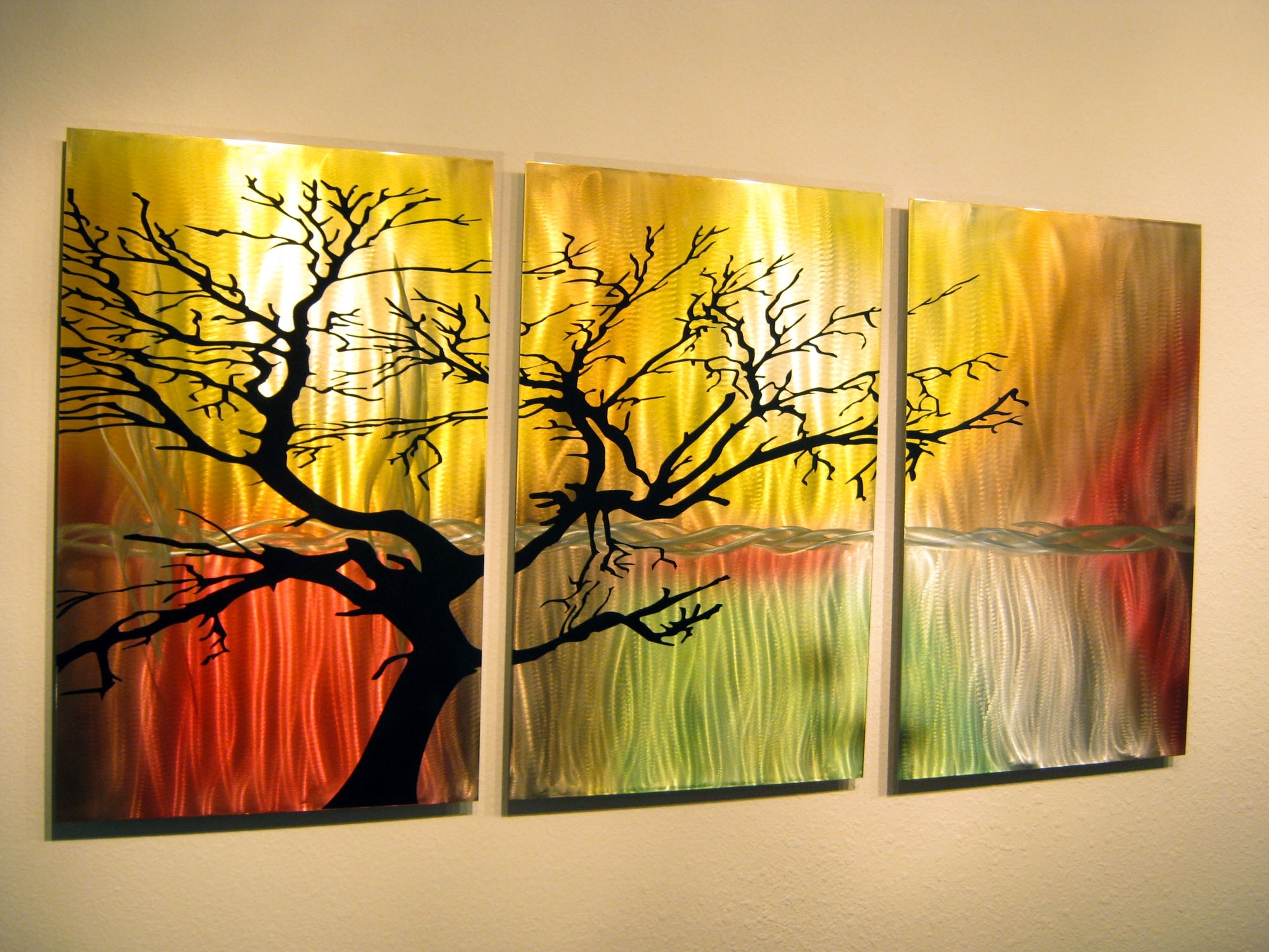 Tree In Silhouette Metal Wall Art Contemporary Modern Decor 3 Pertaining To Wall Art Panels (View 2 of 20)