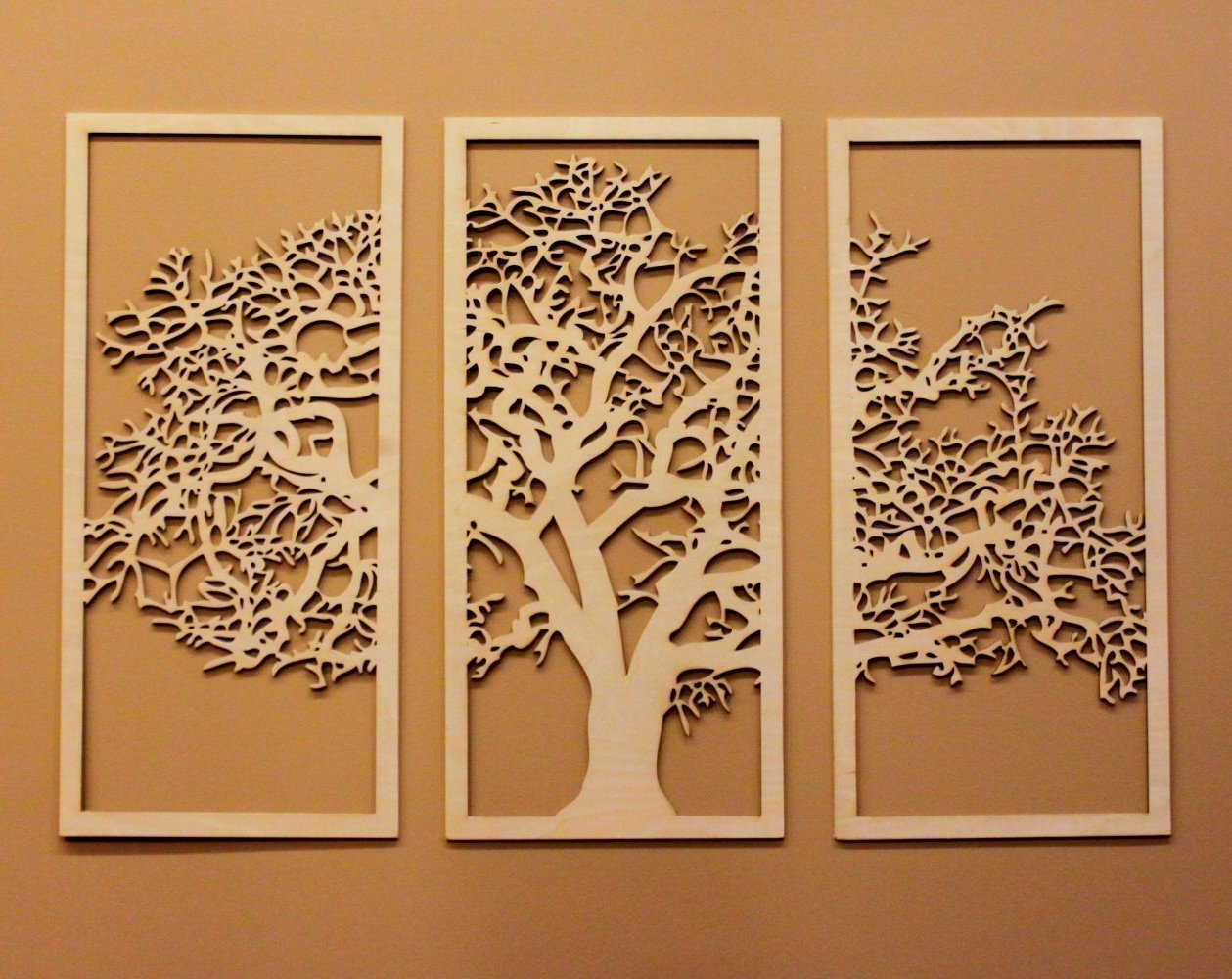 Tree Of Life 3d Maple – 3 Panel Wood Wall Art – Beautiful Living For Wall Art Panels (View 6 of 20)
